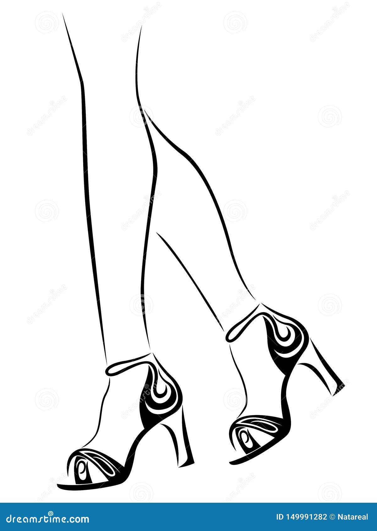 在抽象鞋子的优美的妇女的脚