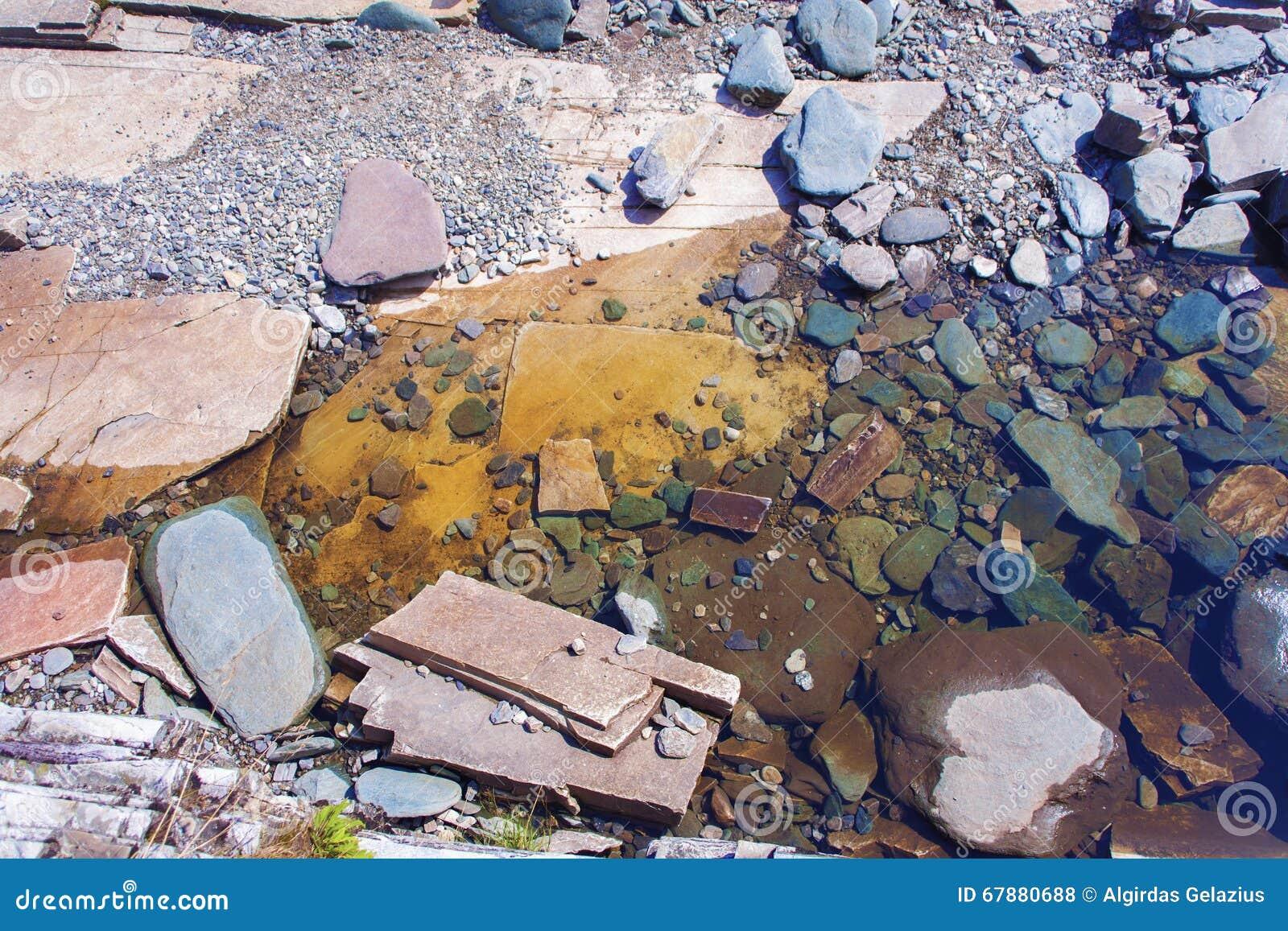 在挪威山的五颜六色的岩石