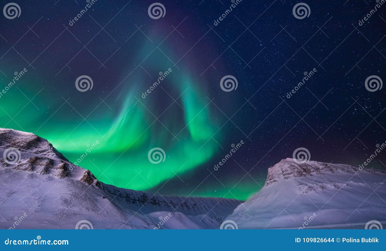 在挪威斯瓦尔巴特群岛朗伊尔城市snowscooter山的极性北极北极光极光borealis天空星