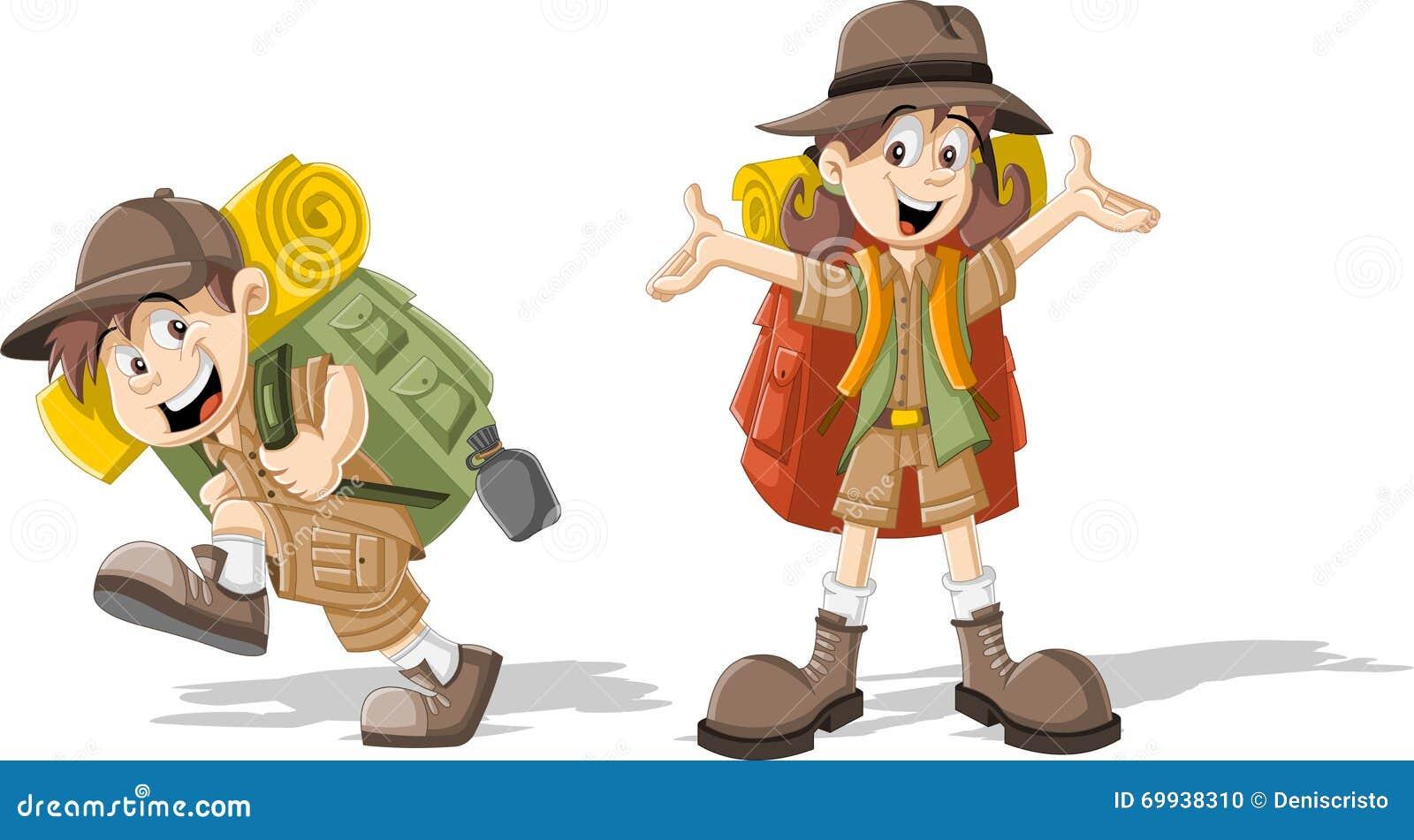 在探险家成套装备的孩子