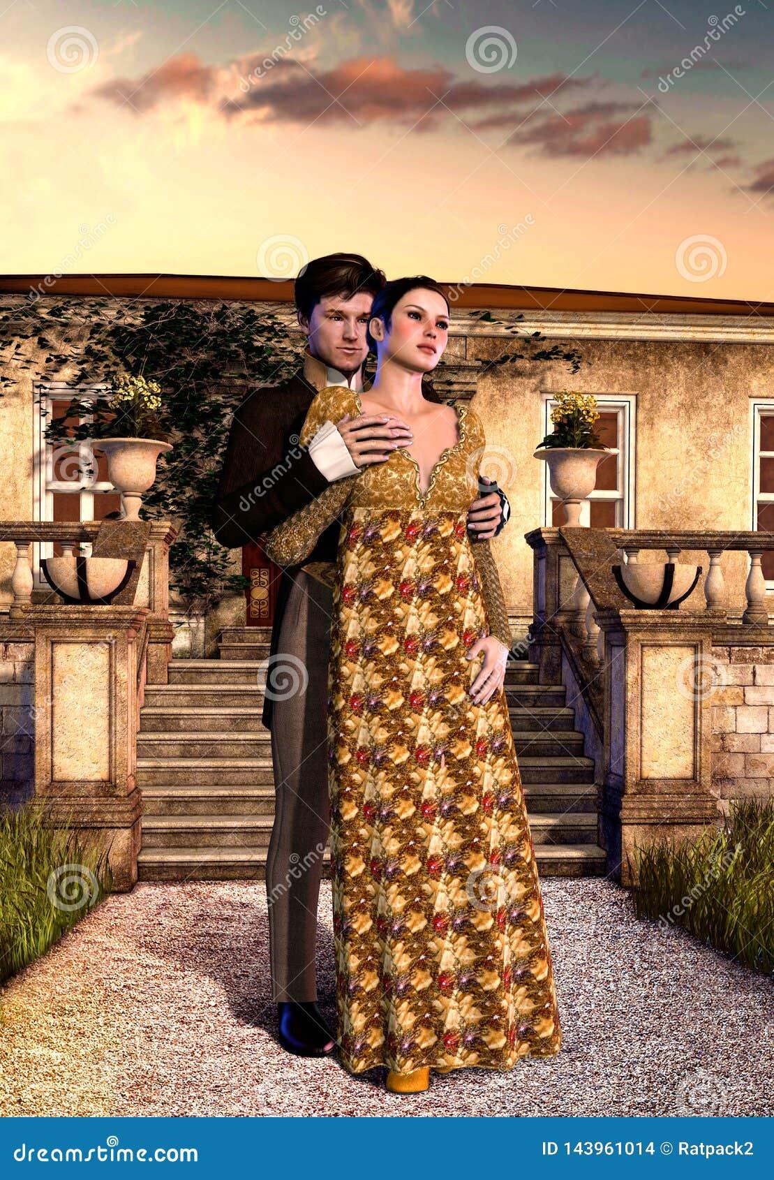 在摄政村庄前面的年轻爱恋的维多利亚女王时代的夫妇