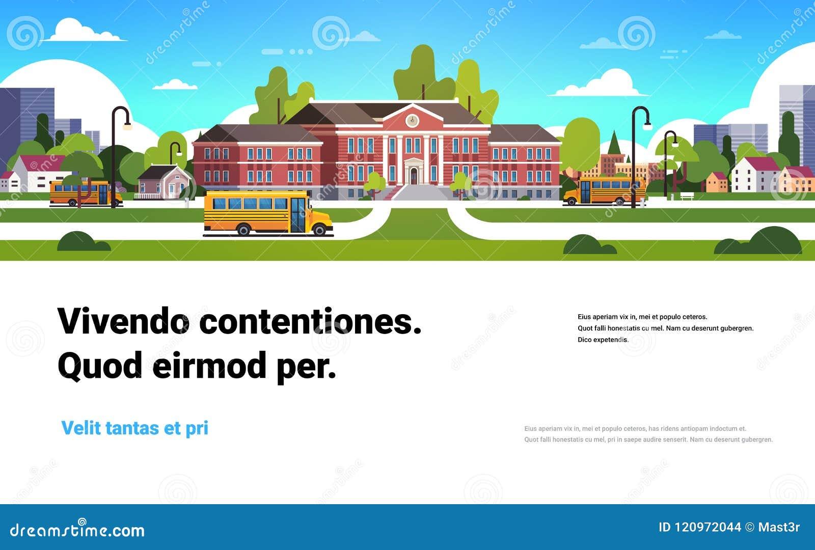 在教学楼外部学生前面的黄色公共汽车运输概念9月1日平的水平的拷贝空间