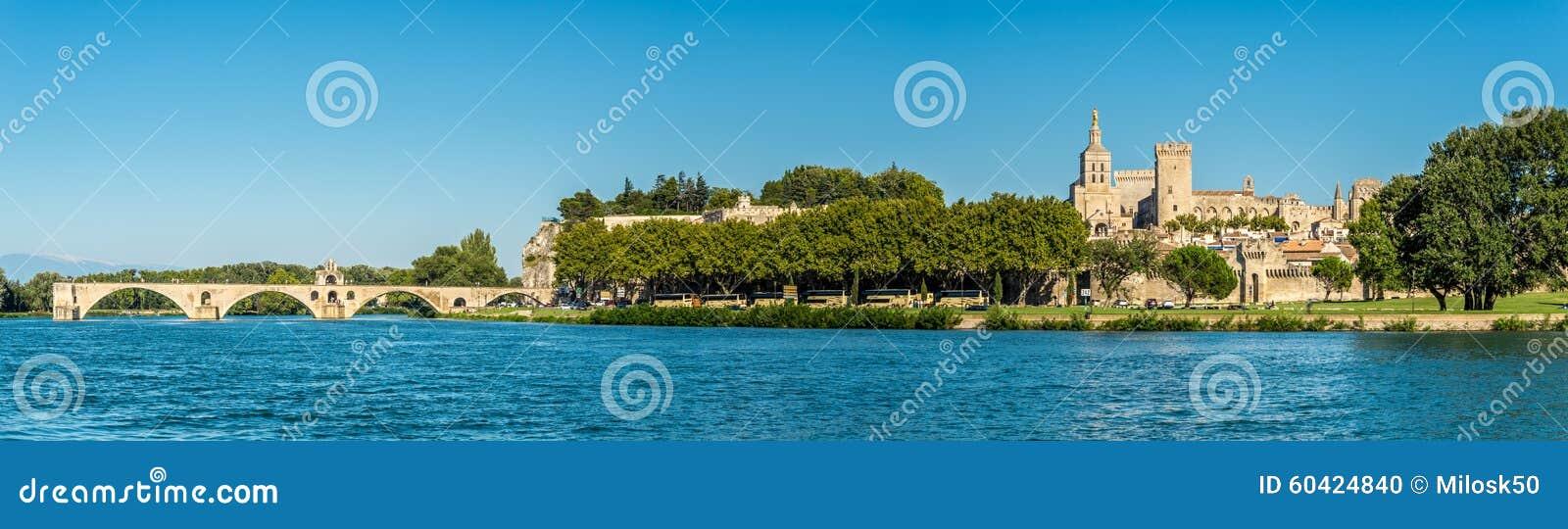 在教皇的宫殿的全景在阿维尼翁