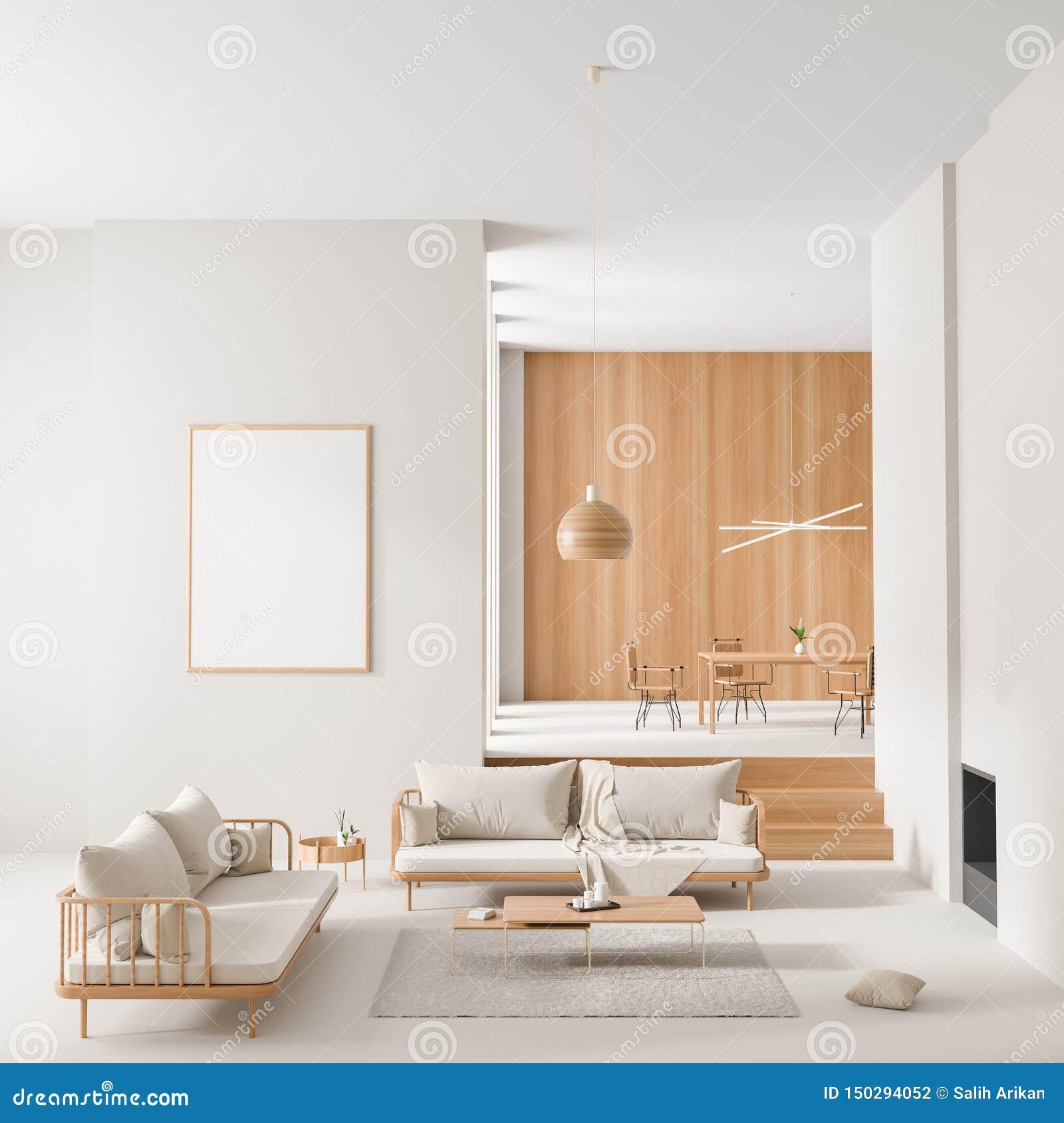 在斯堪的纳维亚样式的假装海报框架内部与壁炉和饭桌 E 3d??