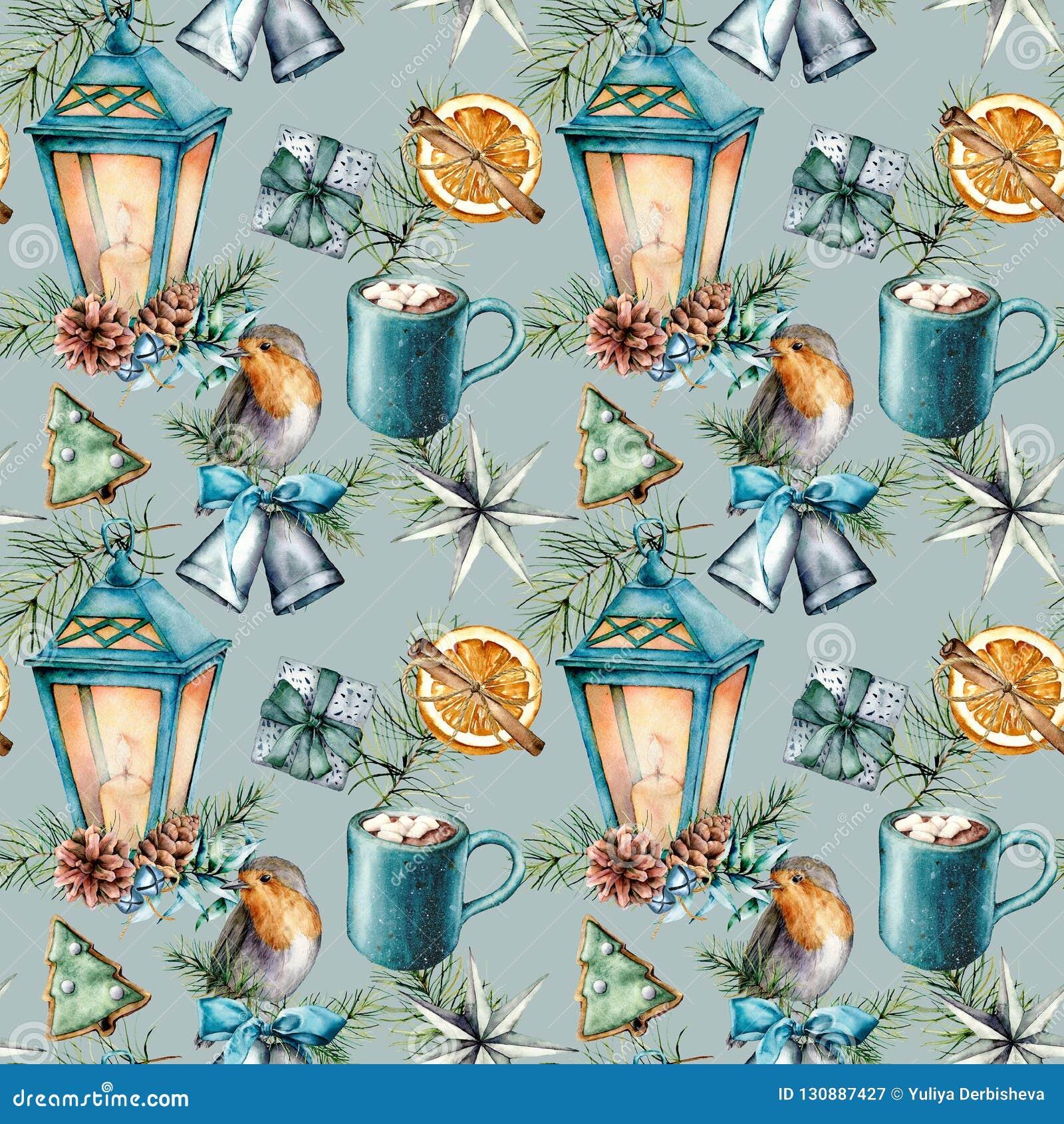 在斯堪的纳维亚样式的水彩圣诞节无缝的样式 手画蓝色灯笼,恶杯子用蛋白软糖