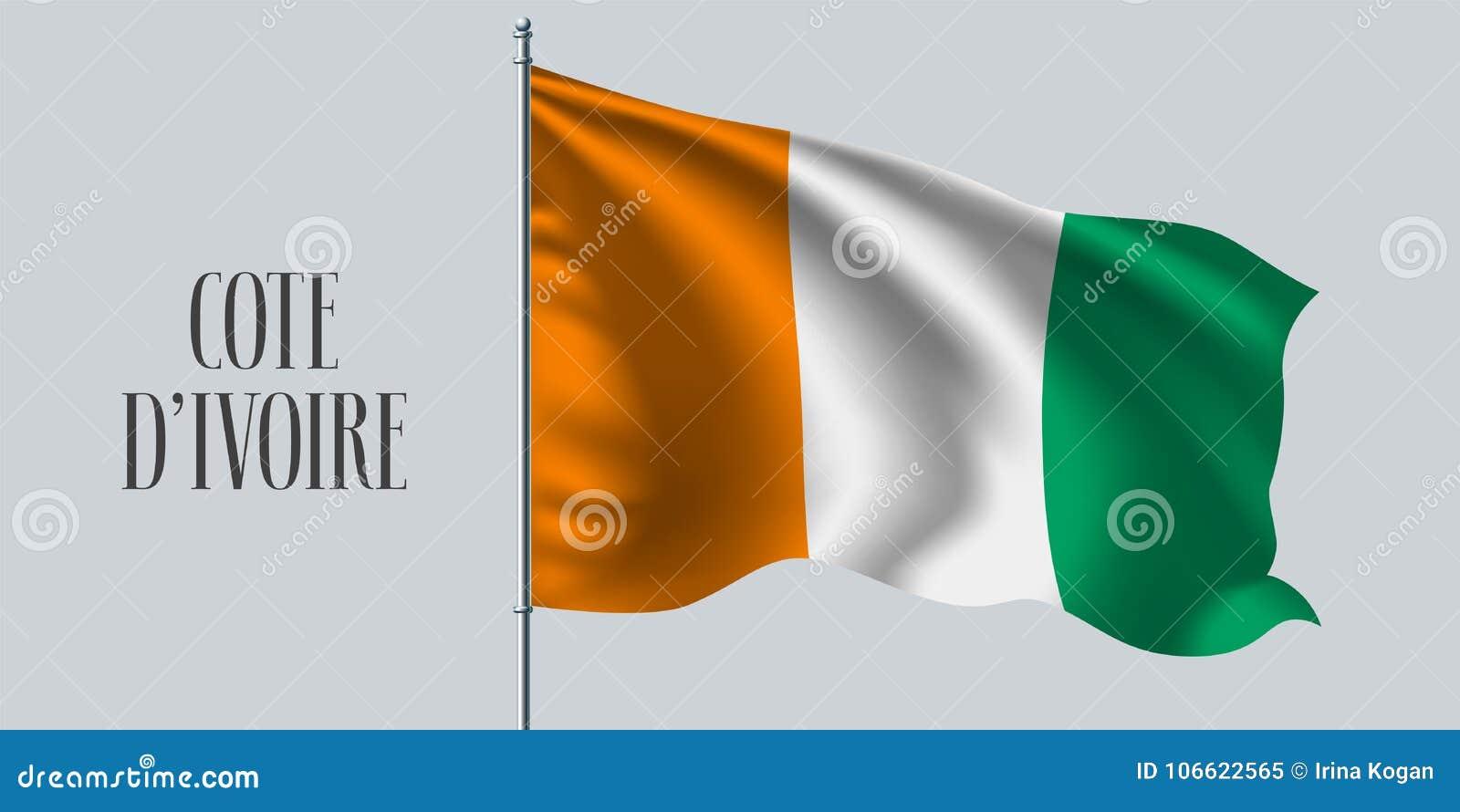 在旗杆传染媒介例证的彻特D ` ivoire挥动的旗子