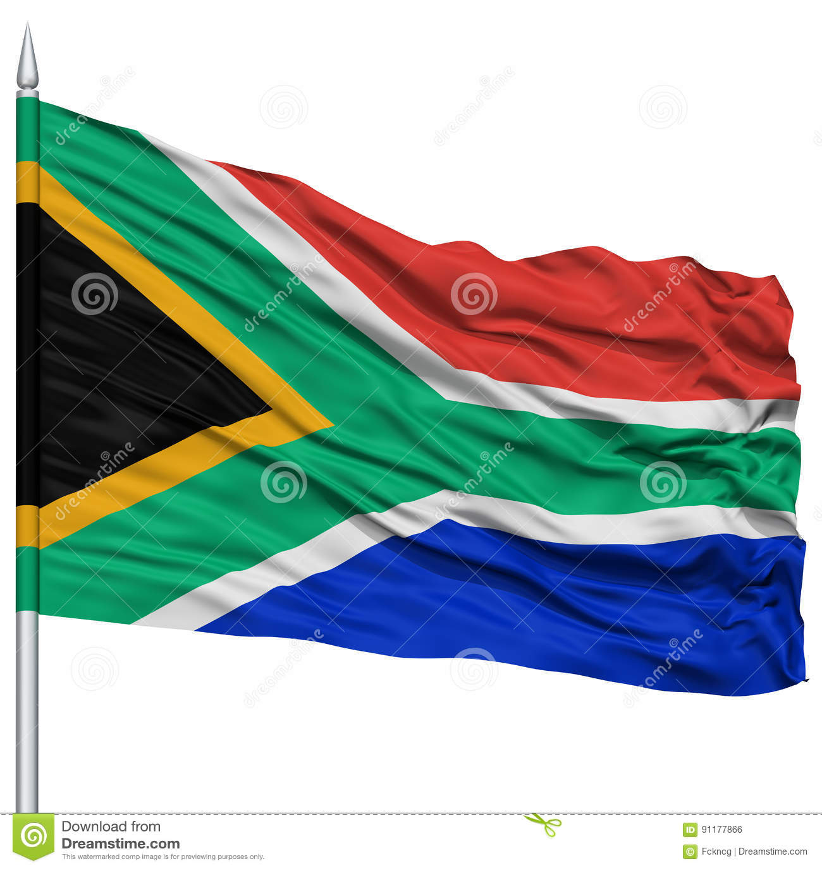 在旗杆的南非旗子