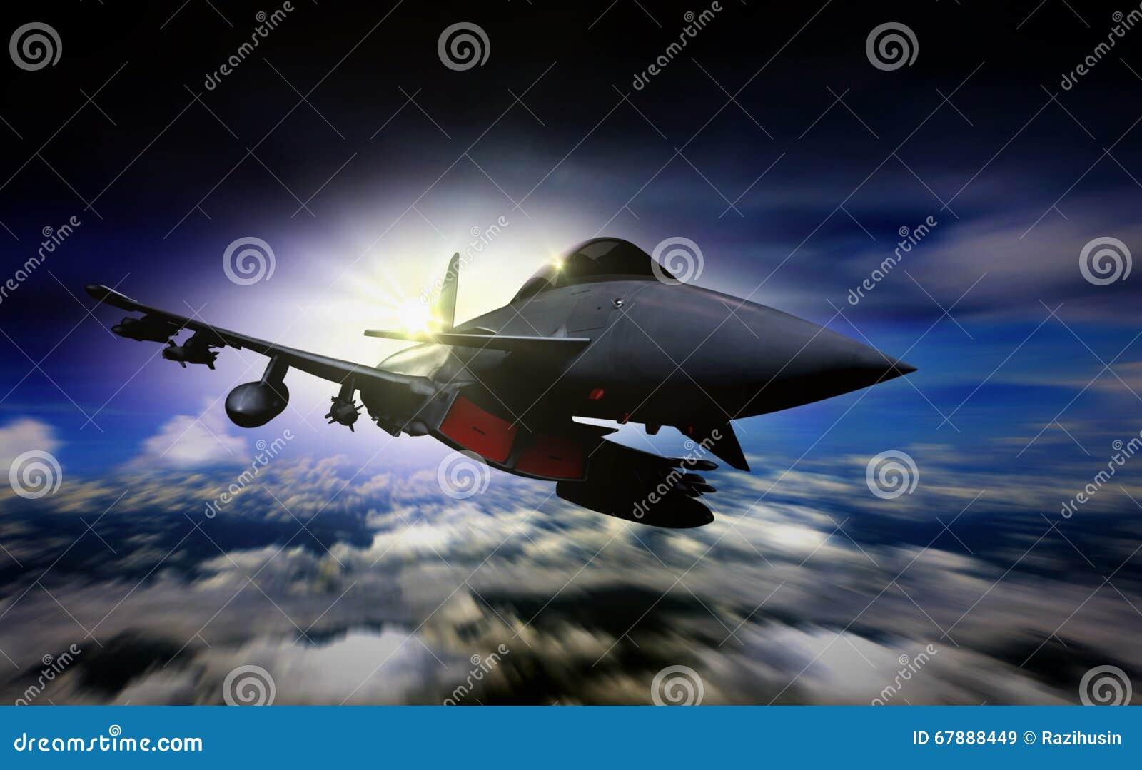 在日出期间的军事喷气机飞行与迷离行动