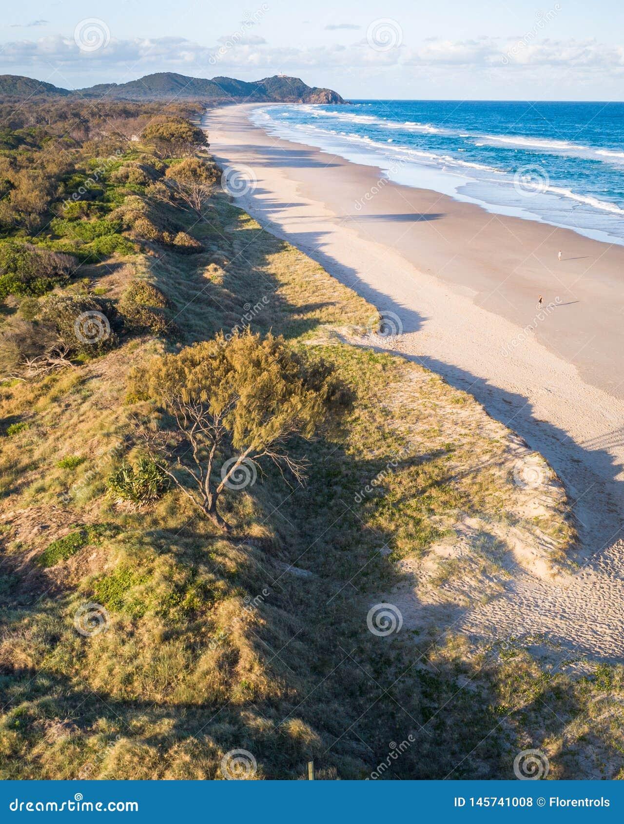 在日出的空中射击在海洋、享受夏天的沙滩与游泳者和冲浪者 拜伦湾,脂浊海滩