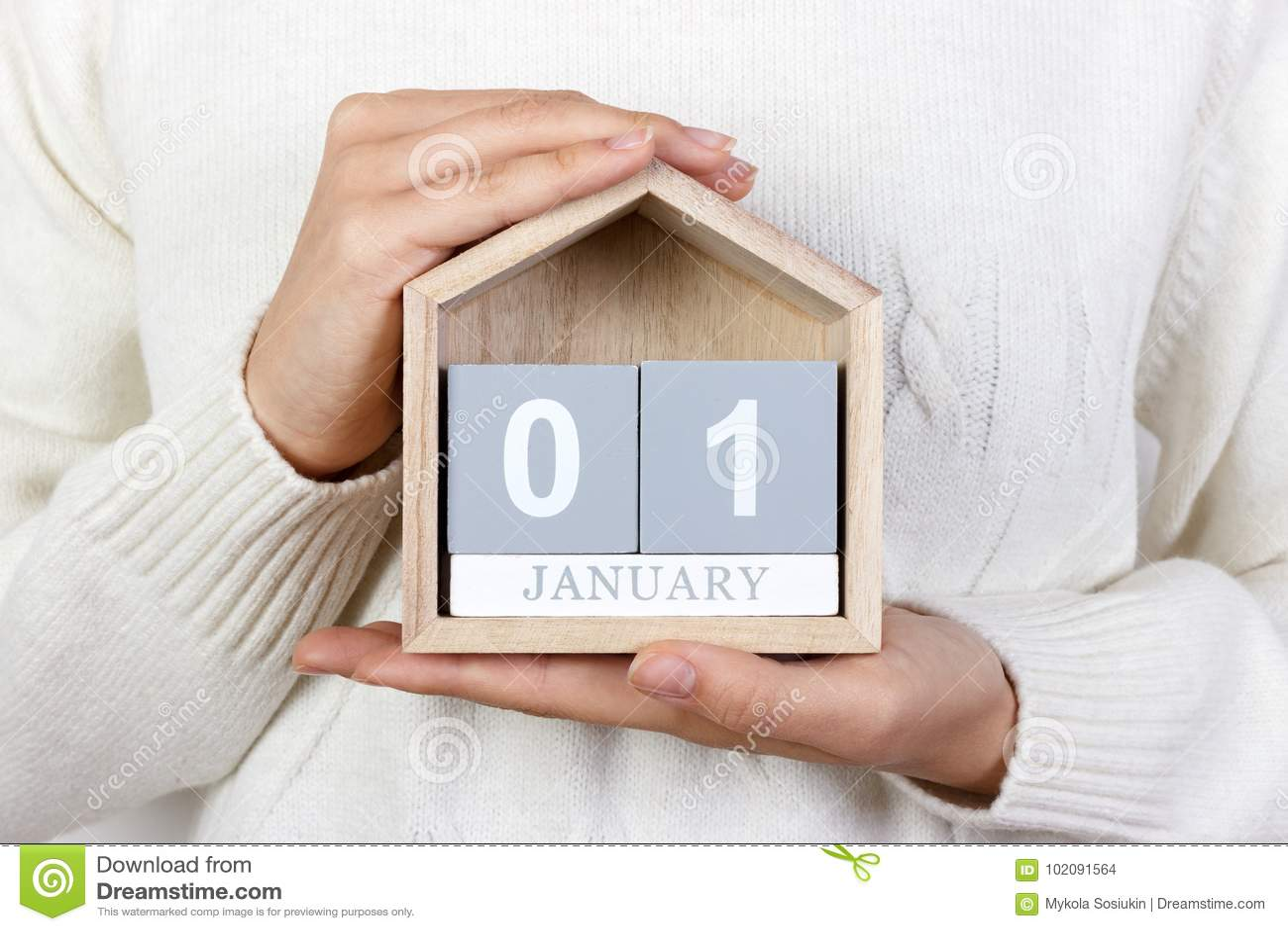 在日历的1月1日 女孩拿着一本木日历 新年度 世界天和平 玛丽宴餐