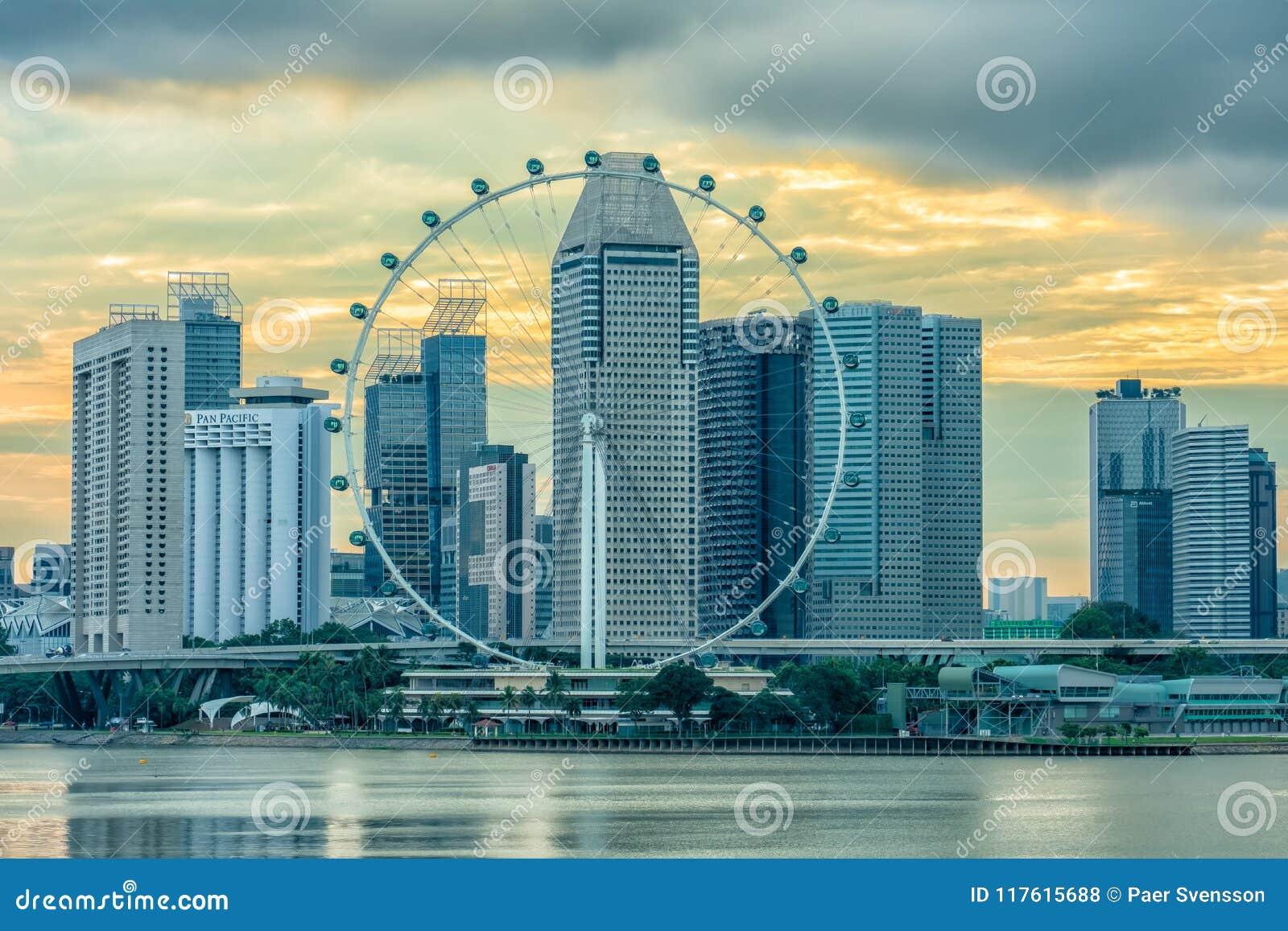 在日落的新加坡传单