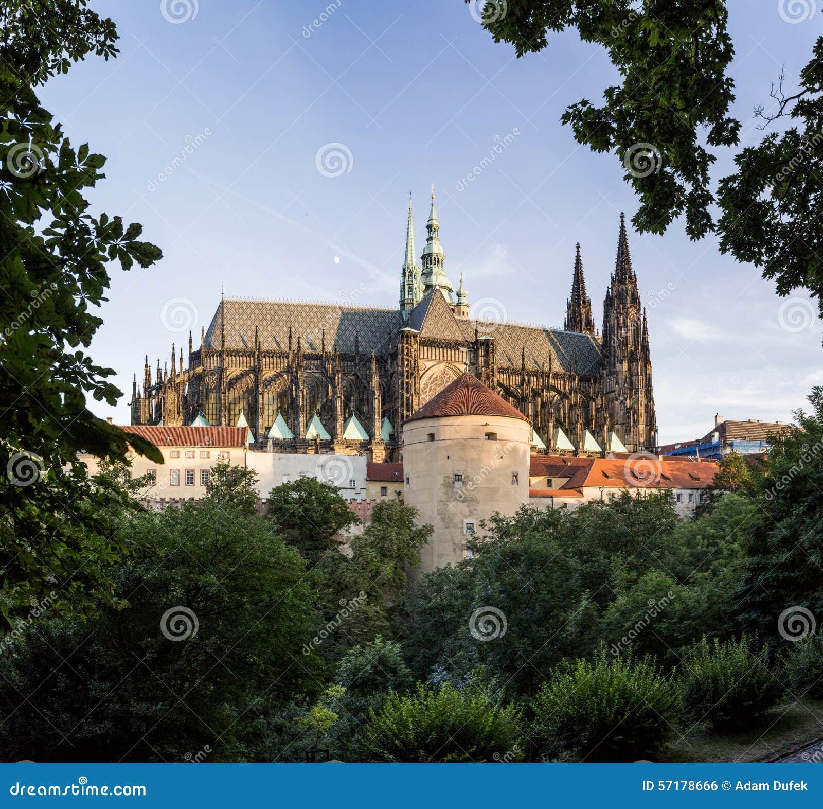 在日落,背面图,方形的comp的布拉格城堡