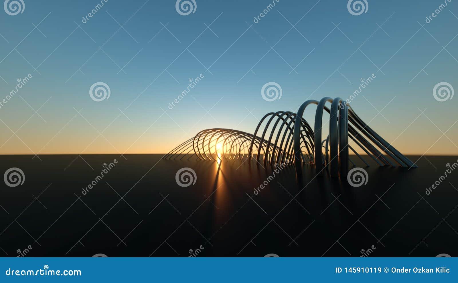 在日落3尺寸现实弯曲的现代桥梁的弯曲的现代桥梁在日落