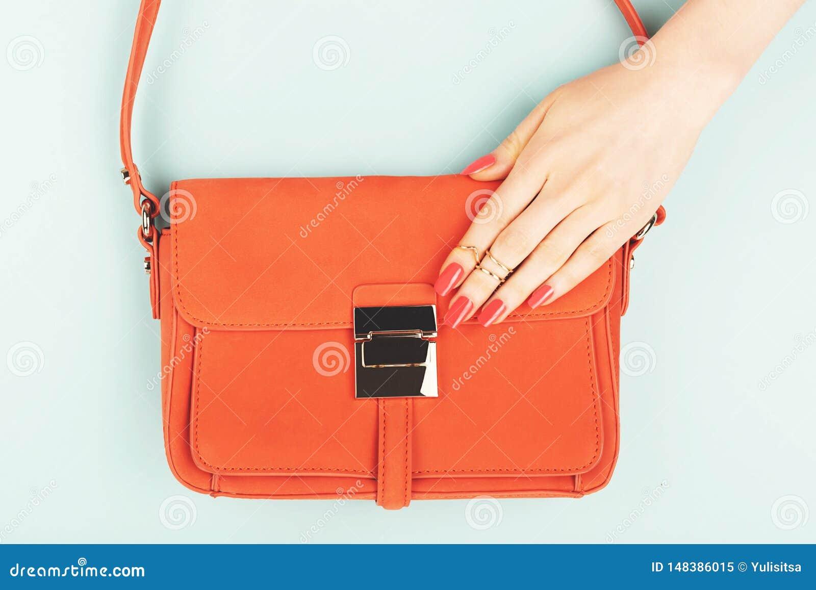 在时髦时尚袋子的妇女手