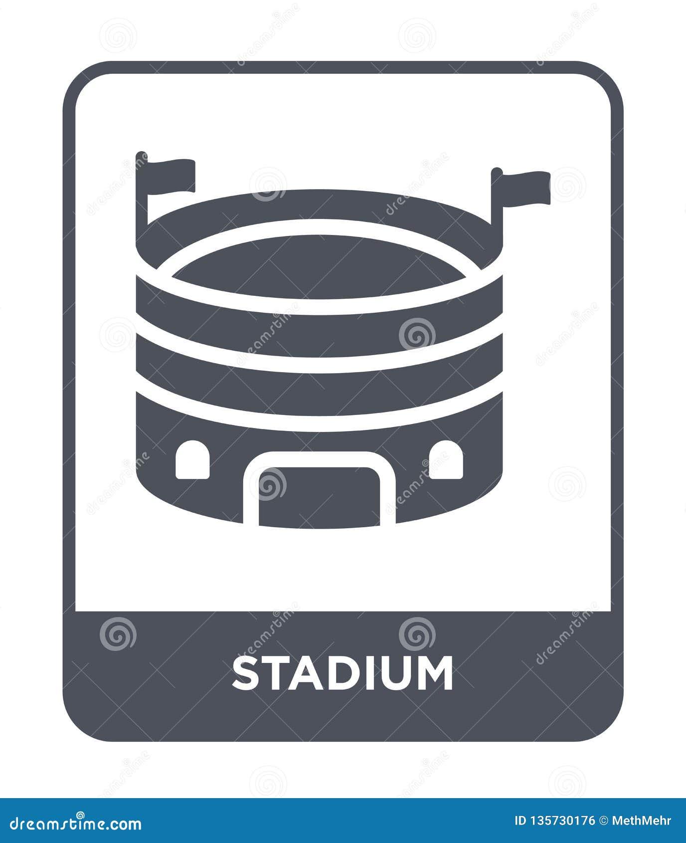 在时髦设计样式的体育场象 在白色背景隔绝的体育场象 体育场传染媒介象简单和现代平的标志