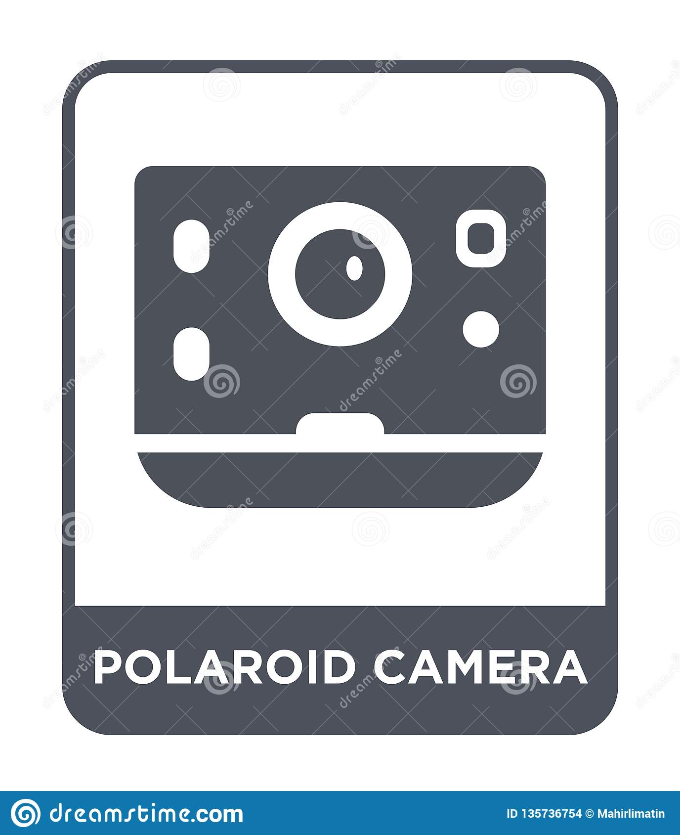 在时髦设计样式的偏振光相机象 在白色背景隔绝的偏振光相机象 偏振光相机简单传染媒介的象