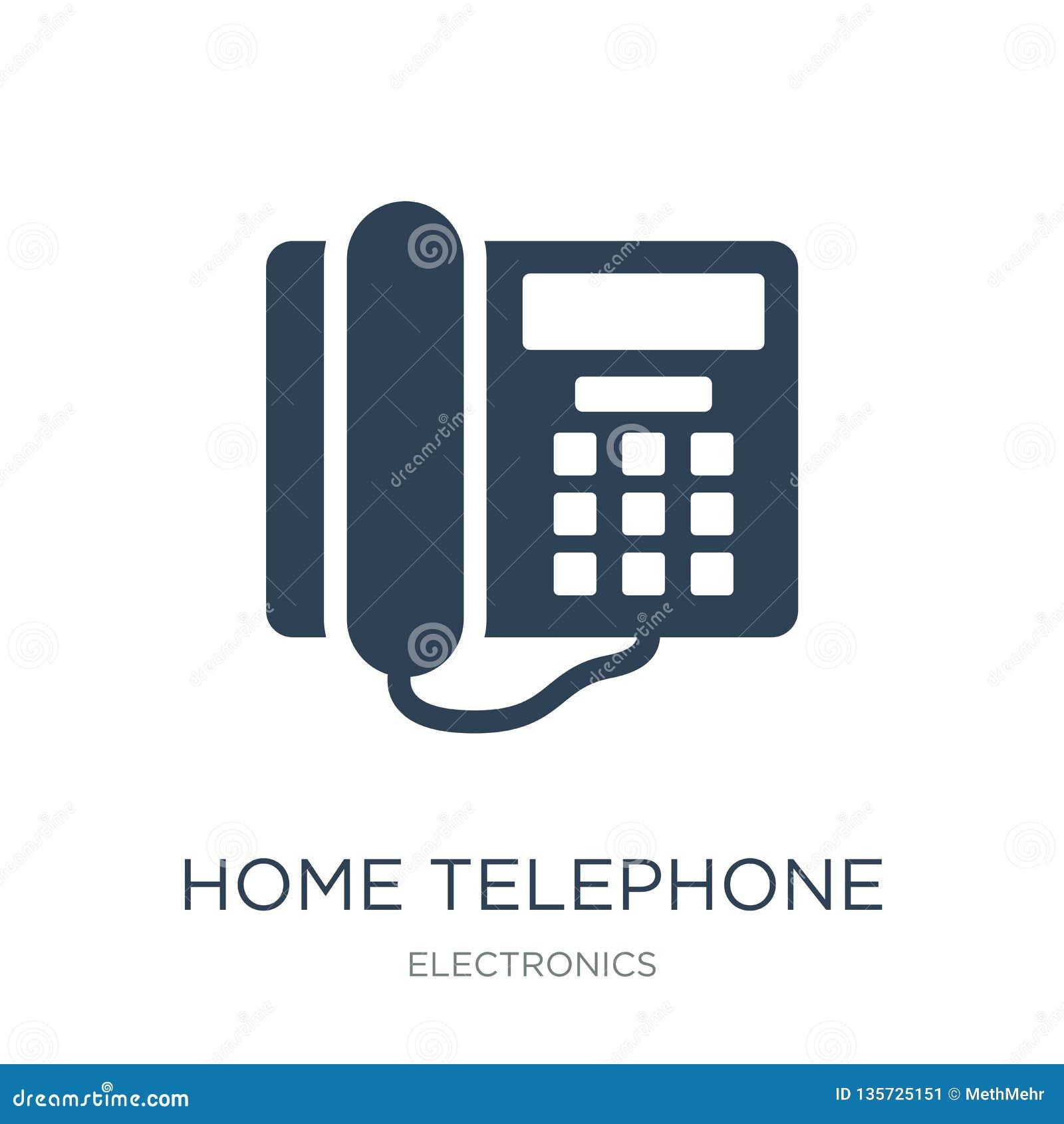 在时髦设计样式的家庭电话象 在白色背景隔绝的家庭电话象 简单家庭电话传染媒介的象