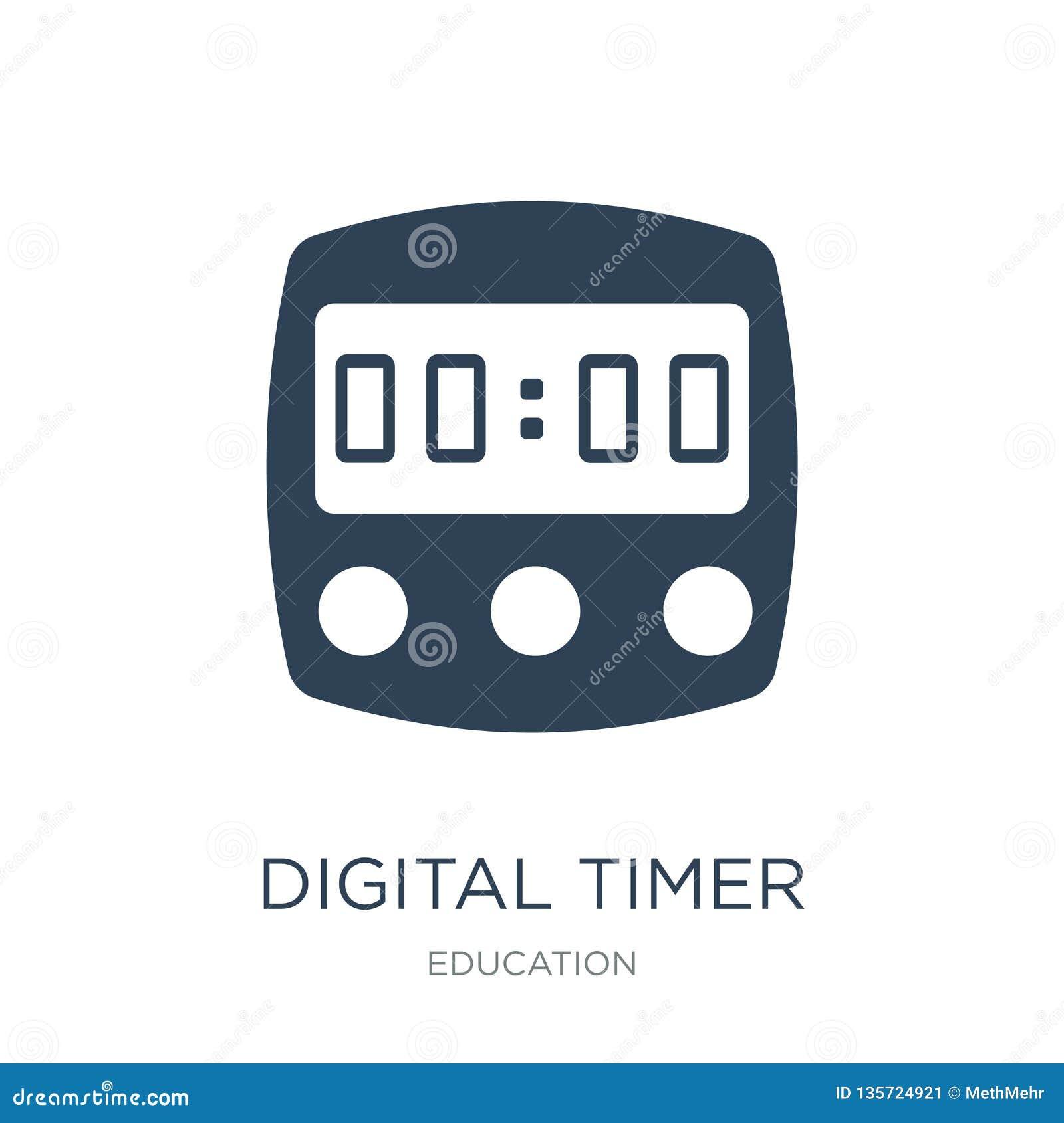 在时髦设计样式的数字定时器象 在白色背景隔绝的数字定时器象 简单数字定时器传染媒介的象和