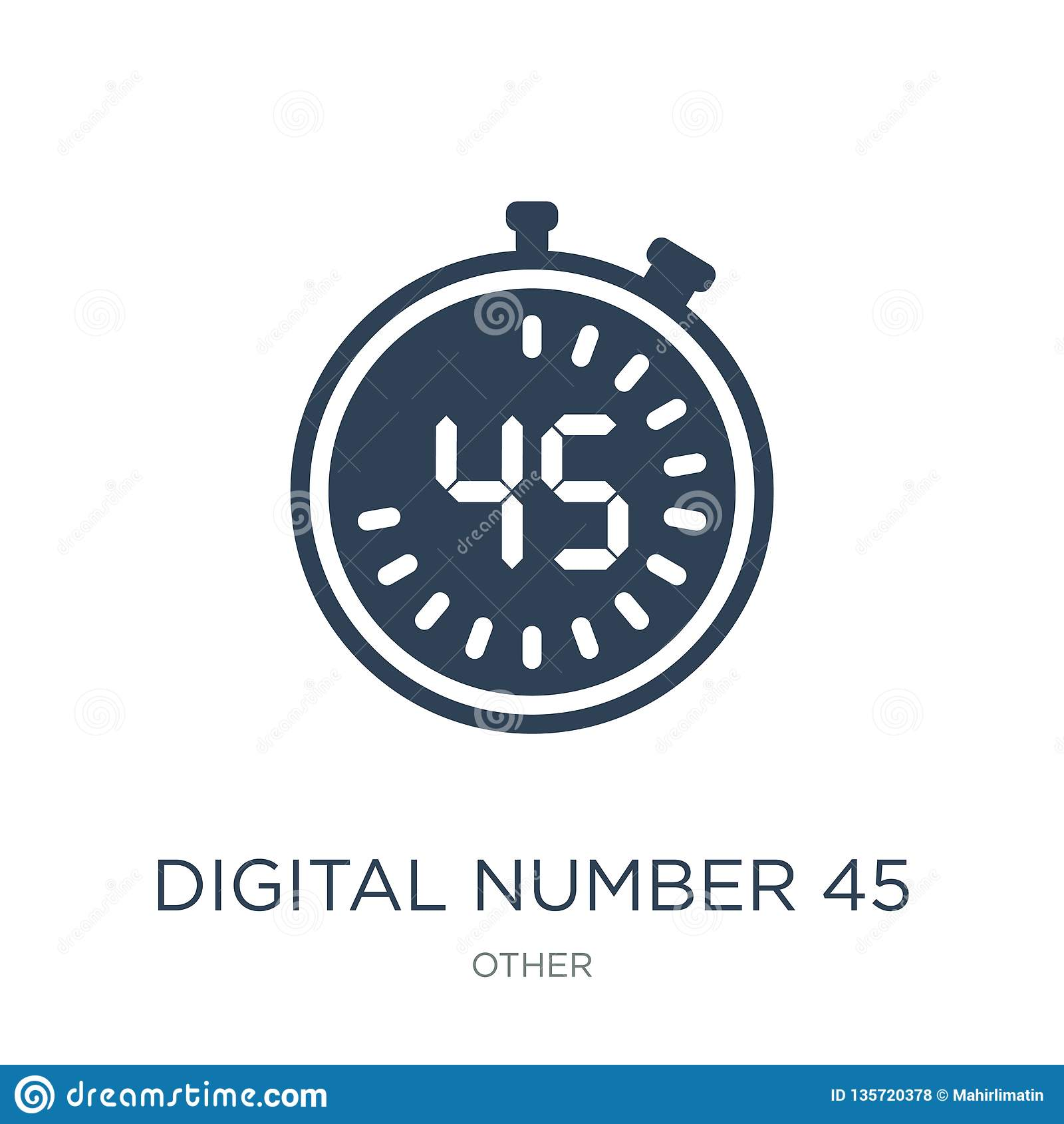 在时髦设计样式的数字第45象 在白色背景隔绝的数字第45象 数字第45传染媒介象
