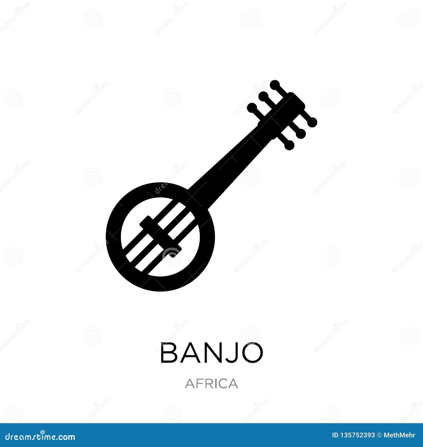 在时髦设计样式的班卓琵琶象 在白色背景隔绝的班卓琵琶象 班卓琵琶传染媒介象简单和现代平的标志为
