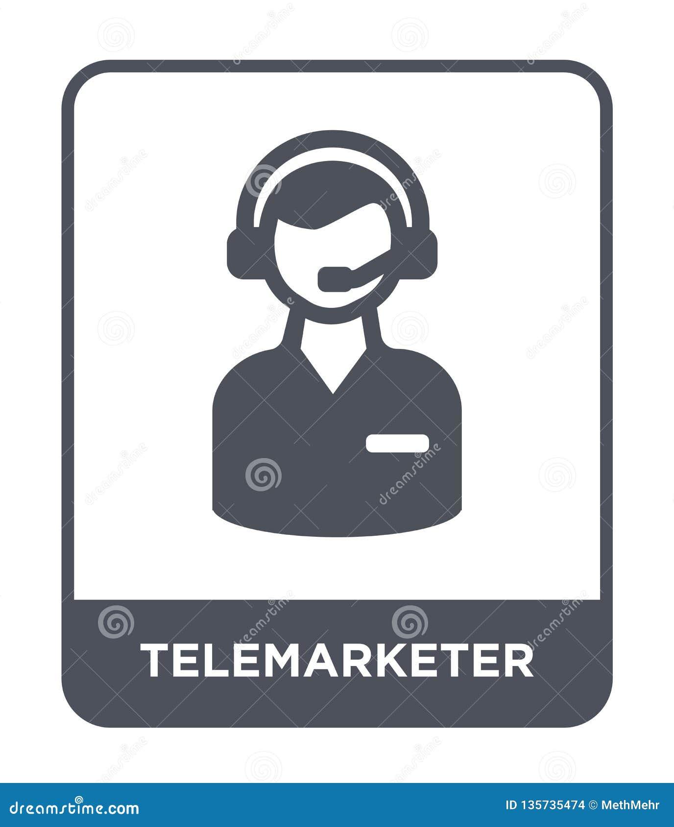 在时髦设计样式的电话推销员象 在白色背景隔绝的电话推销员象 电话推销员简单传染媒介的象和