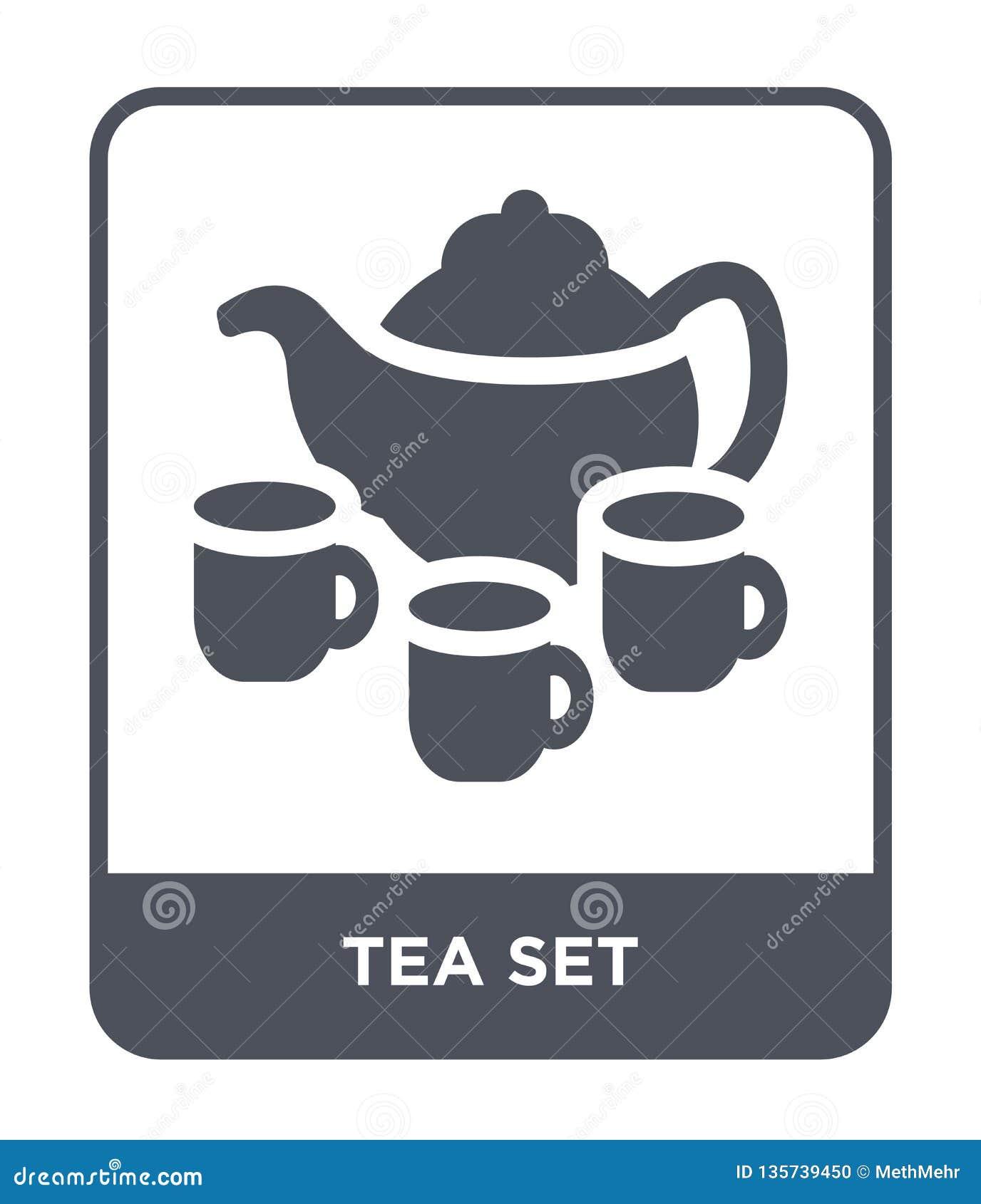 在时髦设计样式的茶具象 在白色背景隔绝的茶具象 茶具传染媒介象简单和现代平的标志