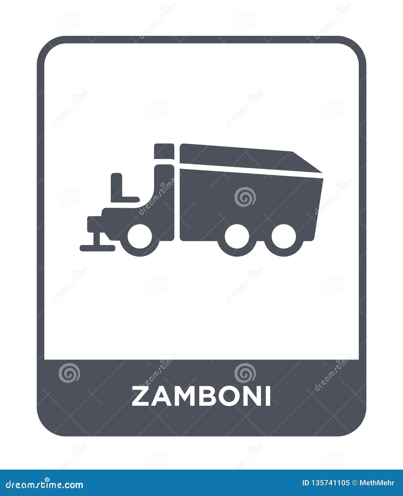 在时髦设计样式的zamboni象 在白色背景隔绝的zamboni象 zamboni传染媒介象简单和现代平的标志