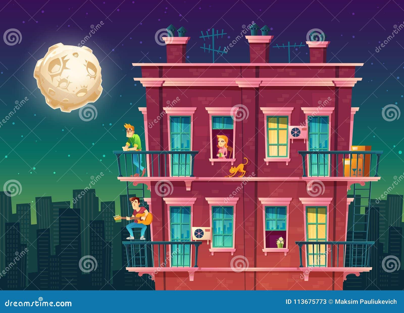 在晚上导航住宅多层的公寓,邻里