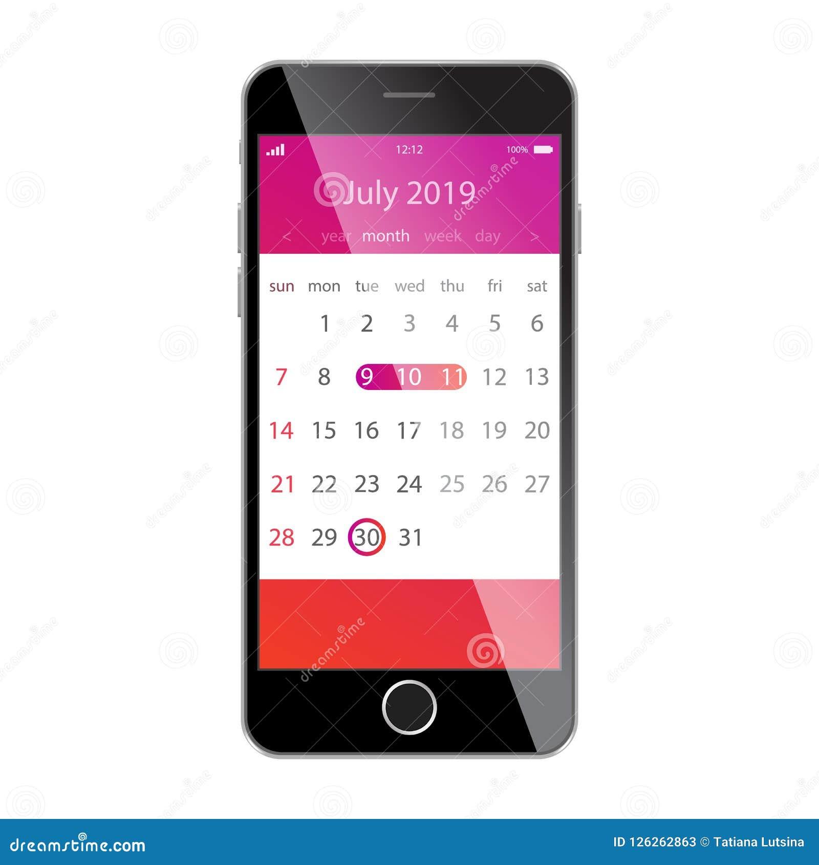 在智能手机屏幕上的日历 计划,日程表,时间表,任命,提示app概念 2019年7月