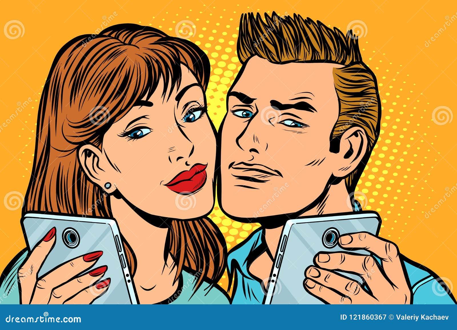 在智能手机的年轻夫妇selfie