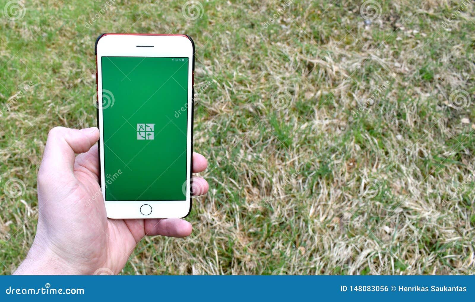在智能手机的Geocaching应用程序发射的屏幕