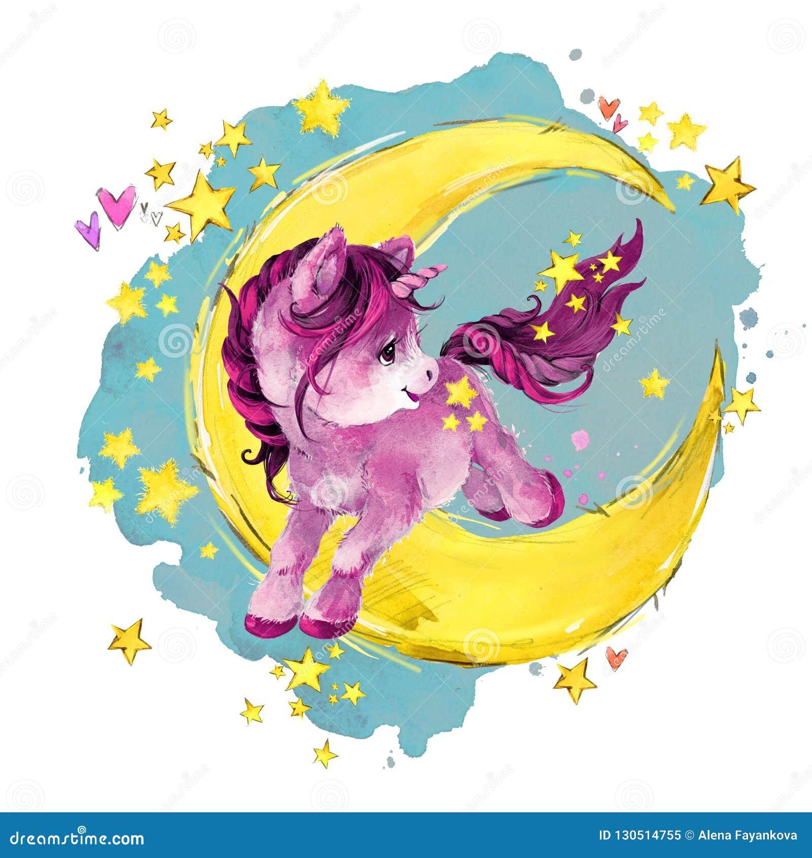 在月亮的逗人喜爱的独角兽 水彩夜童话天空例证