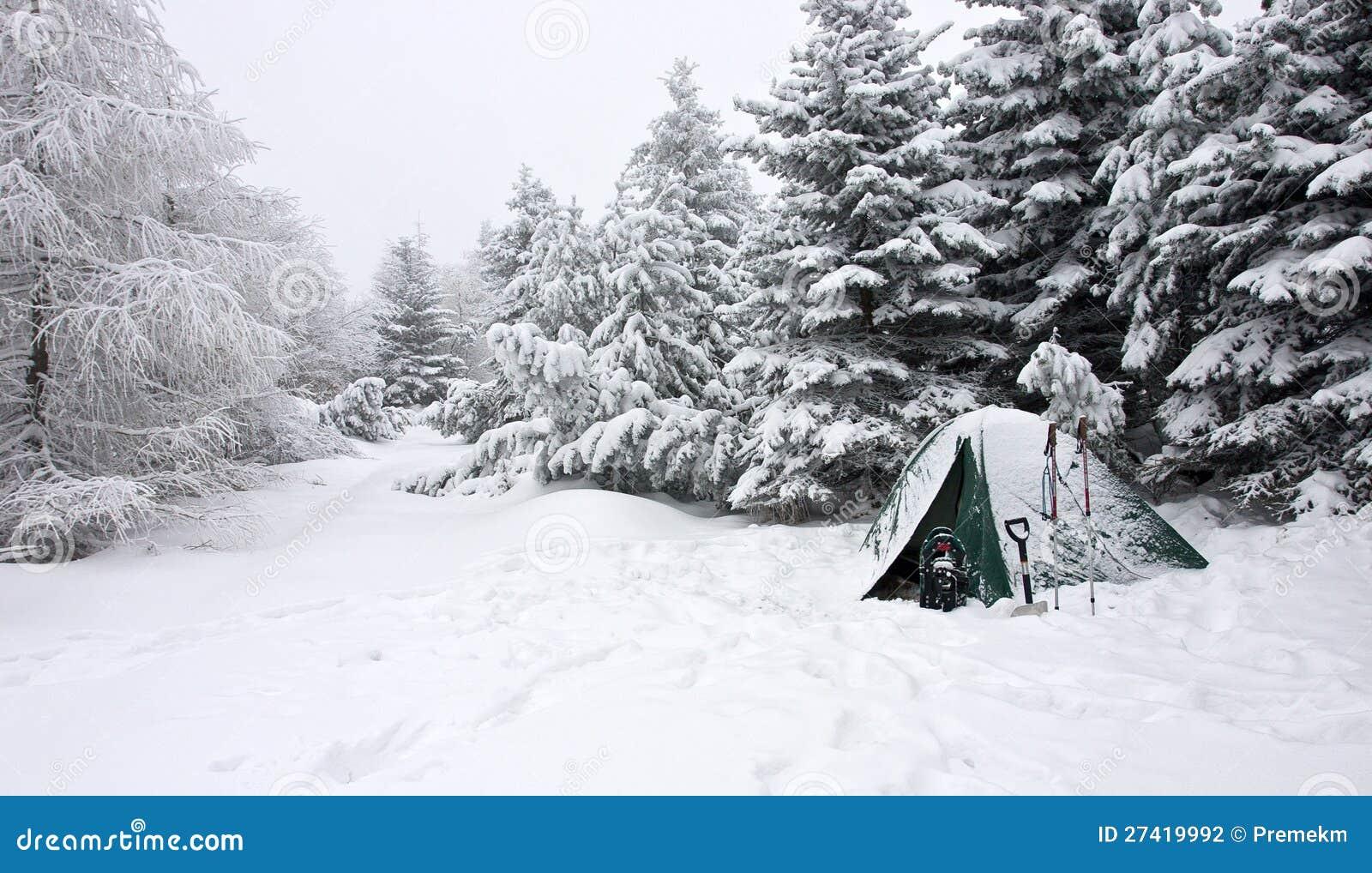 在有薄雾的冬天横向的雪埋没的帐篷