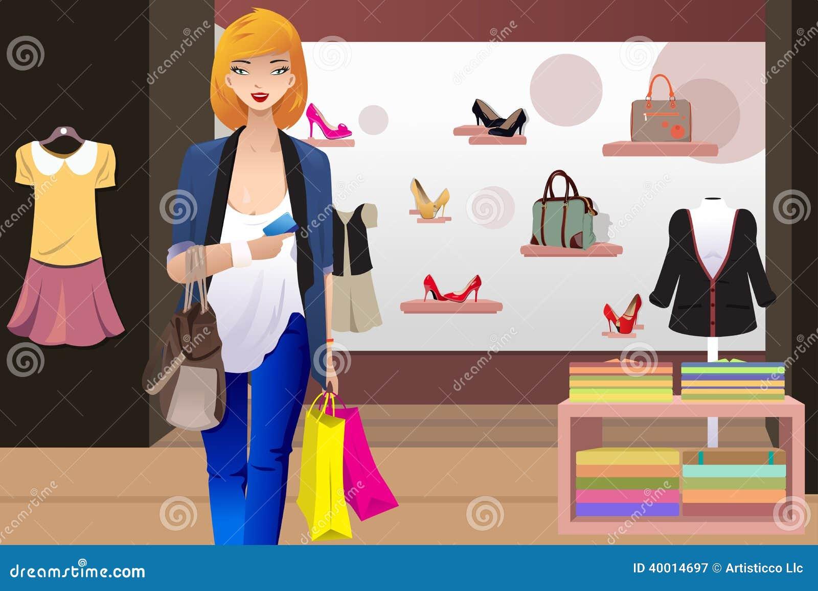 在服装店里面的购物妇女