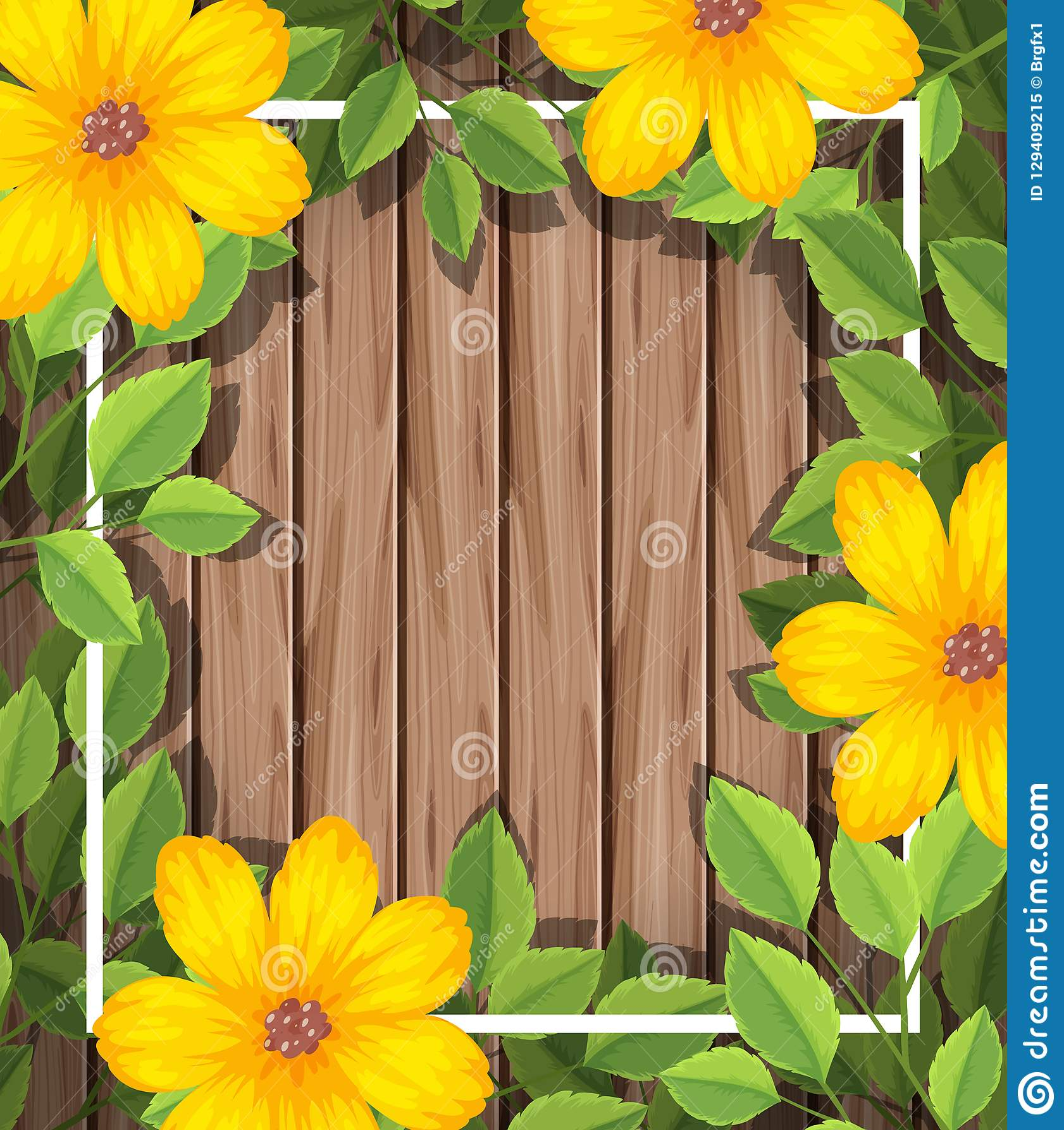 在木制框架的黄色花
