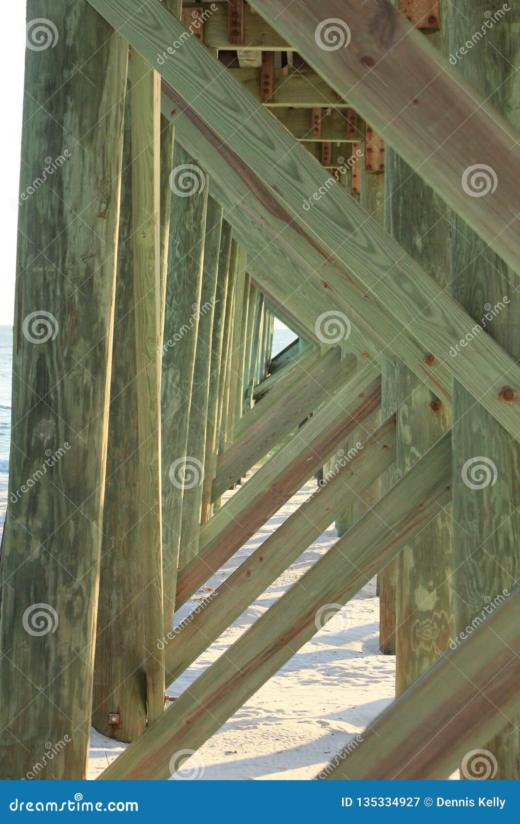 在木板走道码头下的巴拿马市海滩佛罗里达