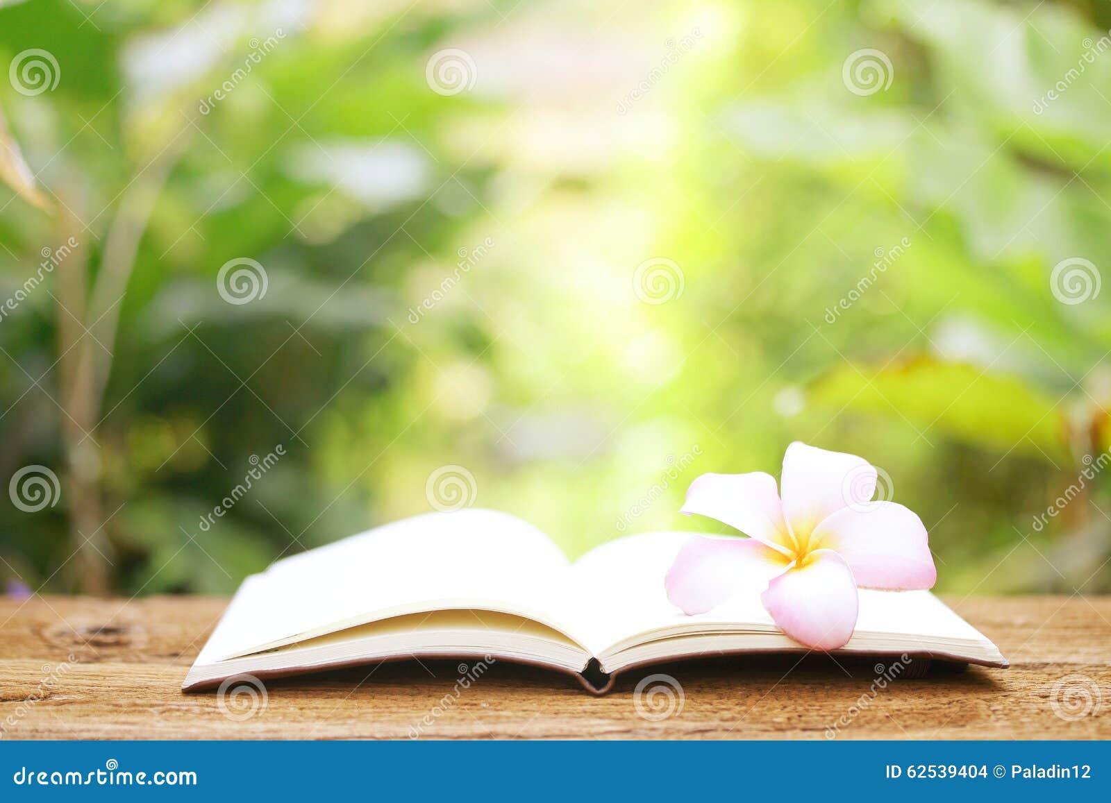 在木桌上的笔记本和赤素馨花花