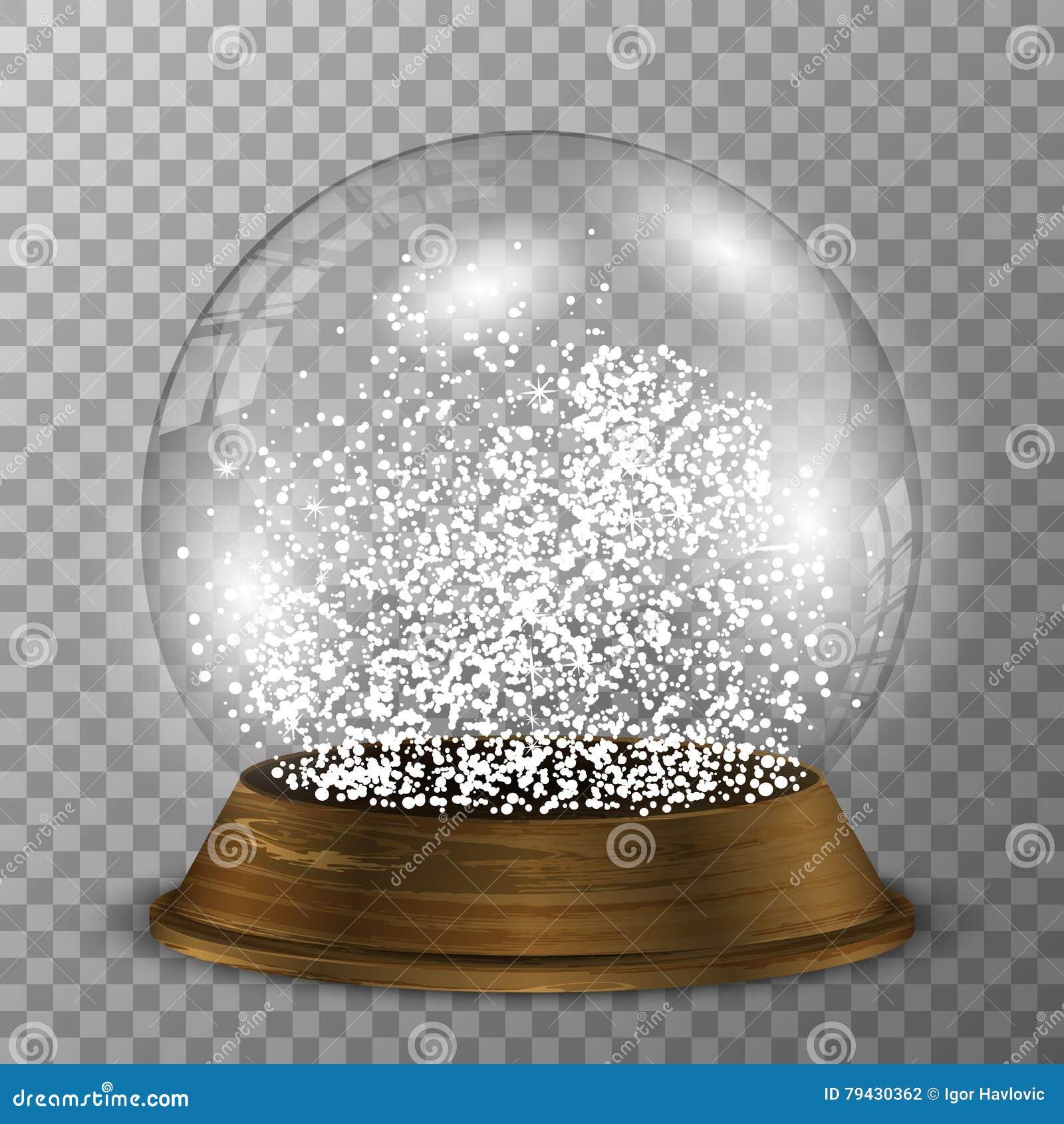 在木立场的水晶雪地球 与木装饰的透明传染媒介snowglobe