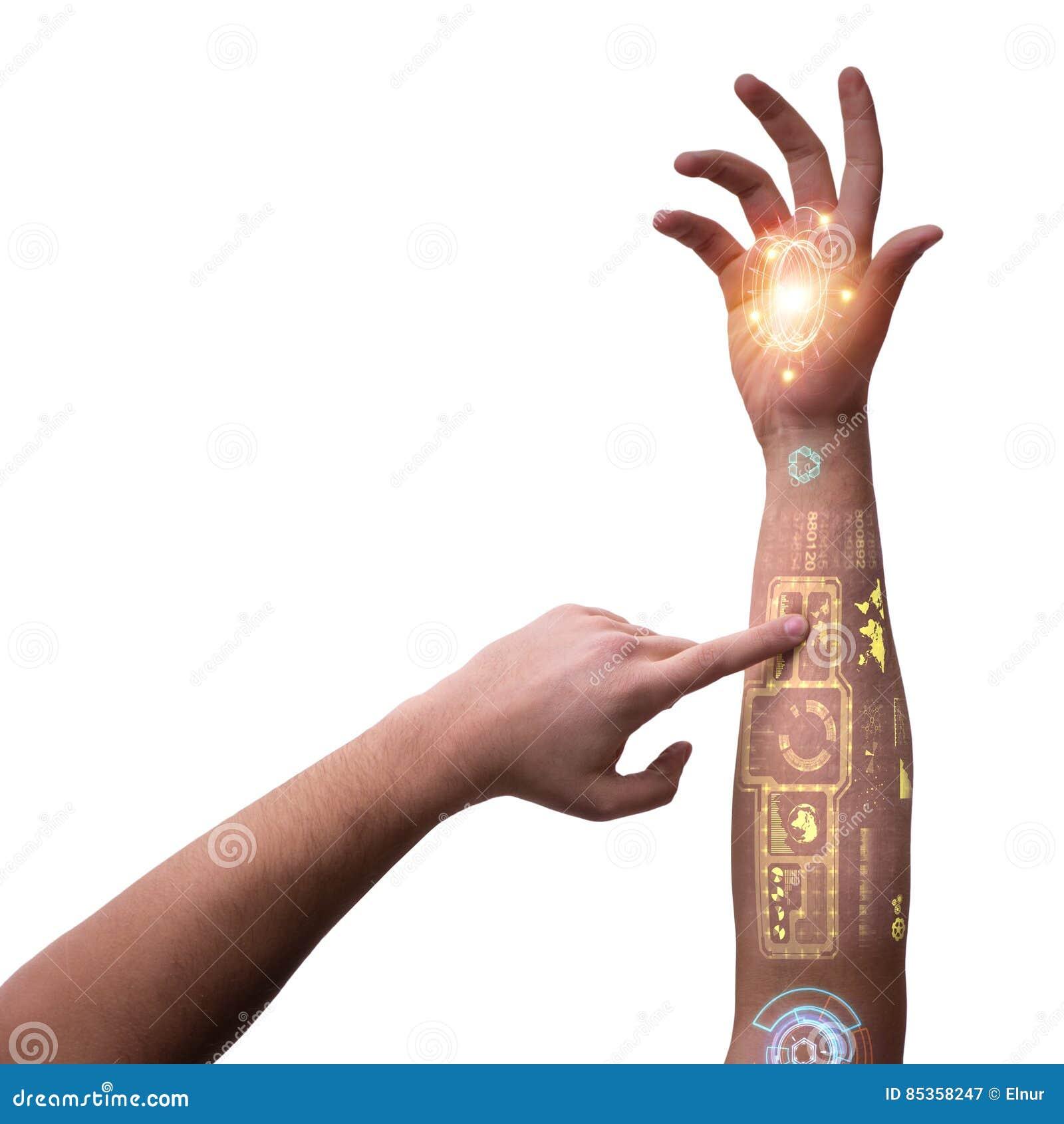 在未来派概念的人的机器人手