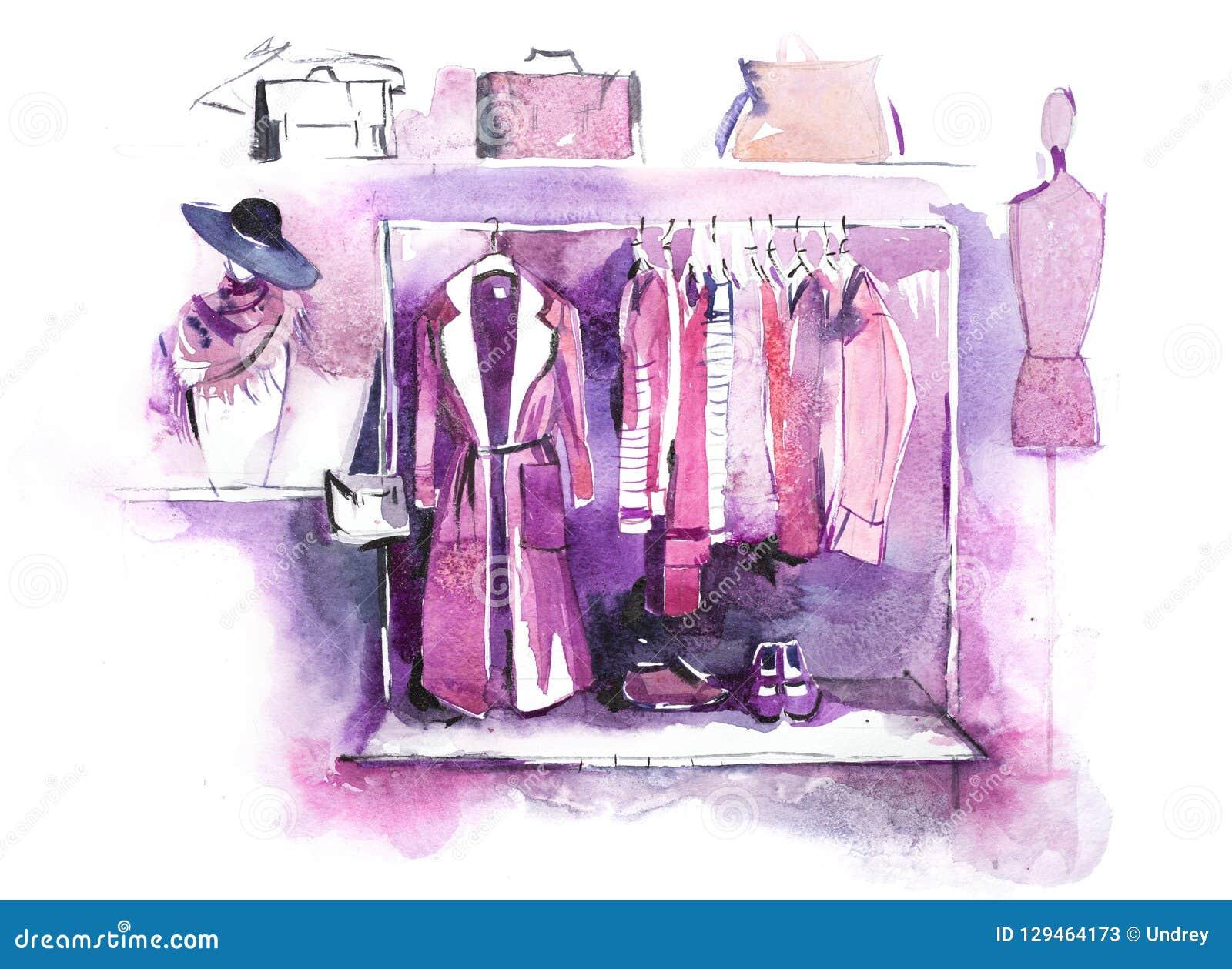 在机架,辅助部件的妇女衣物塑造成套装备 购物