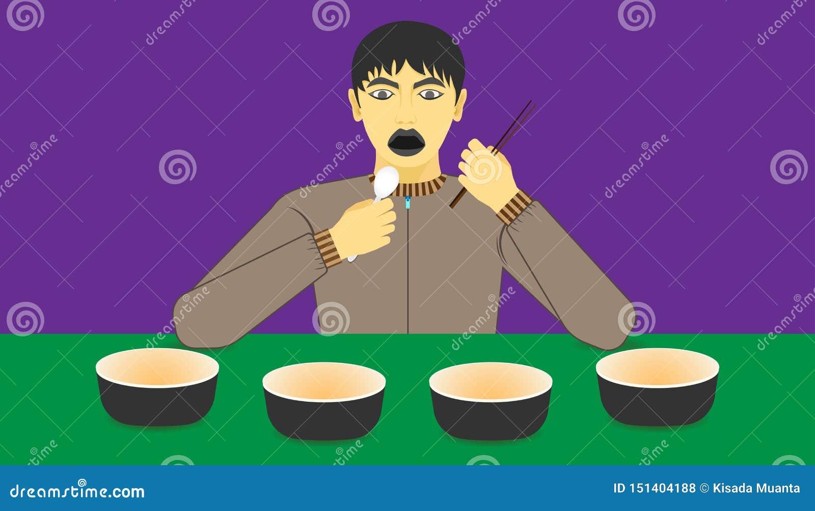 在杯子的自由空间您的食物促进的 一个人被激发对在他前面的一件商品建议使用的膳食 ??eps10