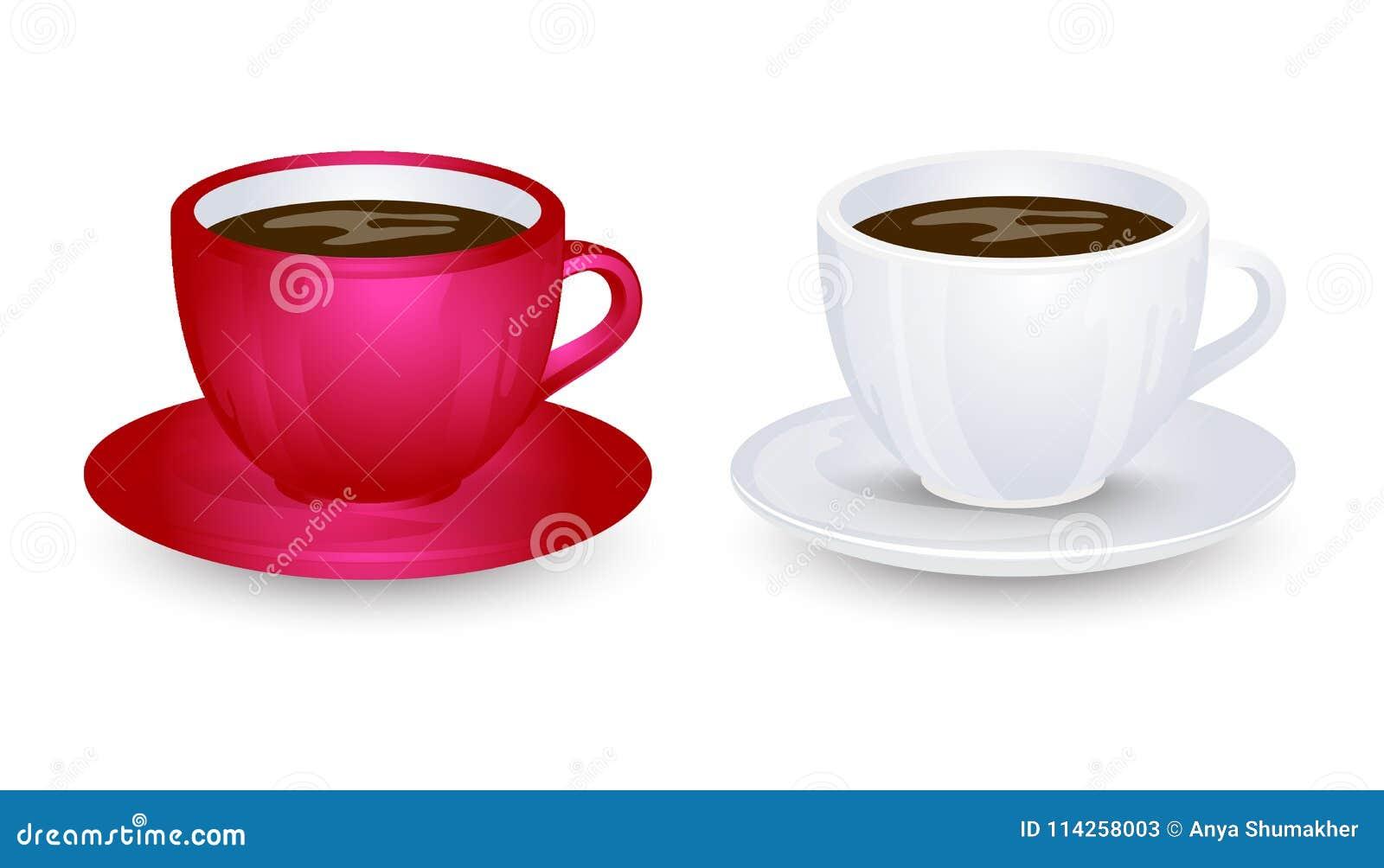 在板材传染媒介的红色和白色coffe杯子大模型设计 背景查出的白色