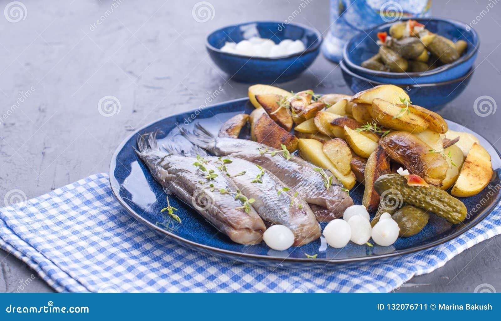 在板材的鲱鱼内圆角,烘烤在烤箱土豆和酱瓜和葱 荷兰的可口传统食物