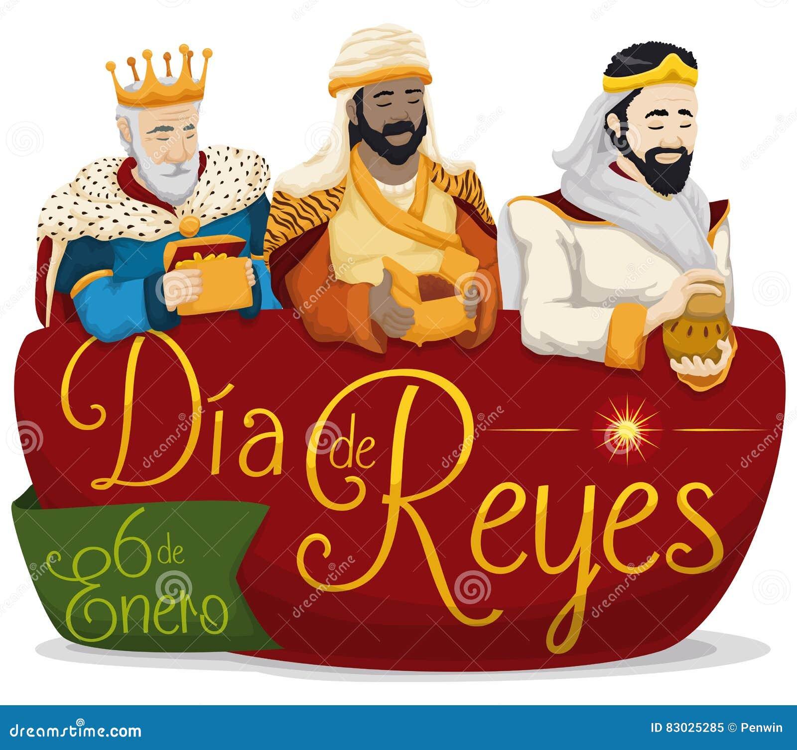 在标志的三个魔术家` Dia de雷耶斯`或突然显现的,传染媒介例证