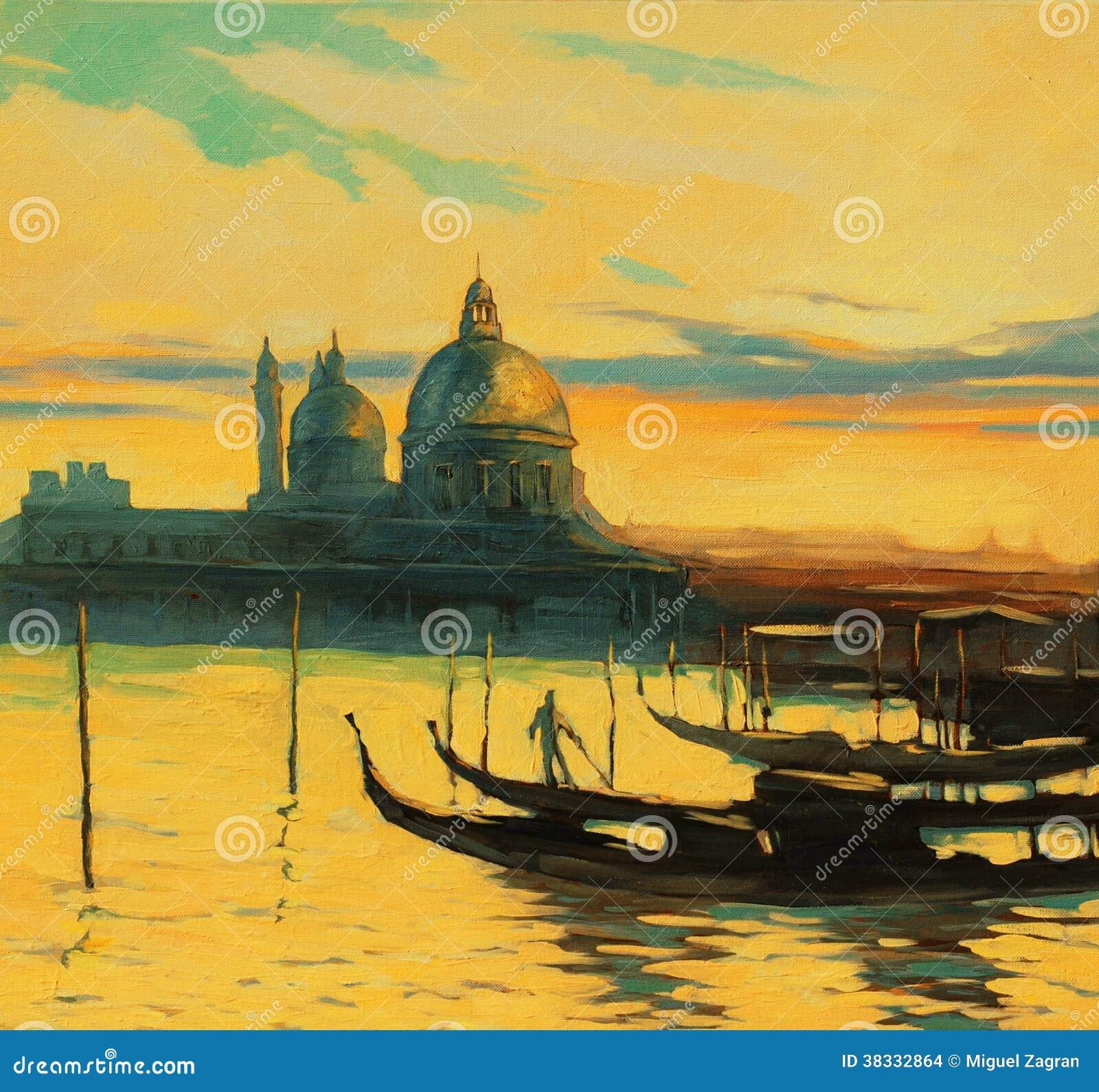 在栈桥的长平底船在威尼斯,由油漆的绘画, il