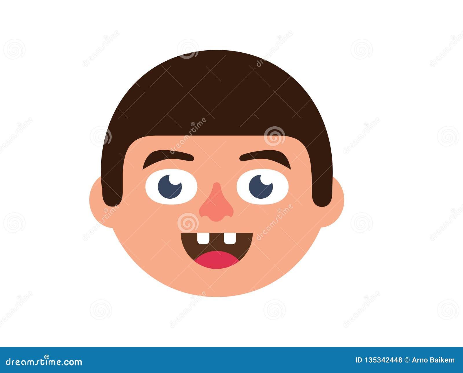 在桃红色背景的传染媒介男孩断牙