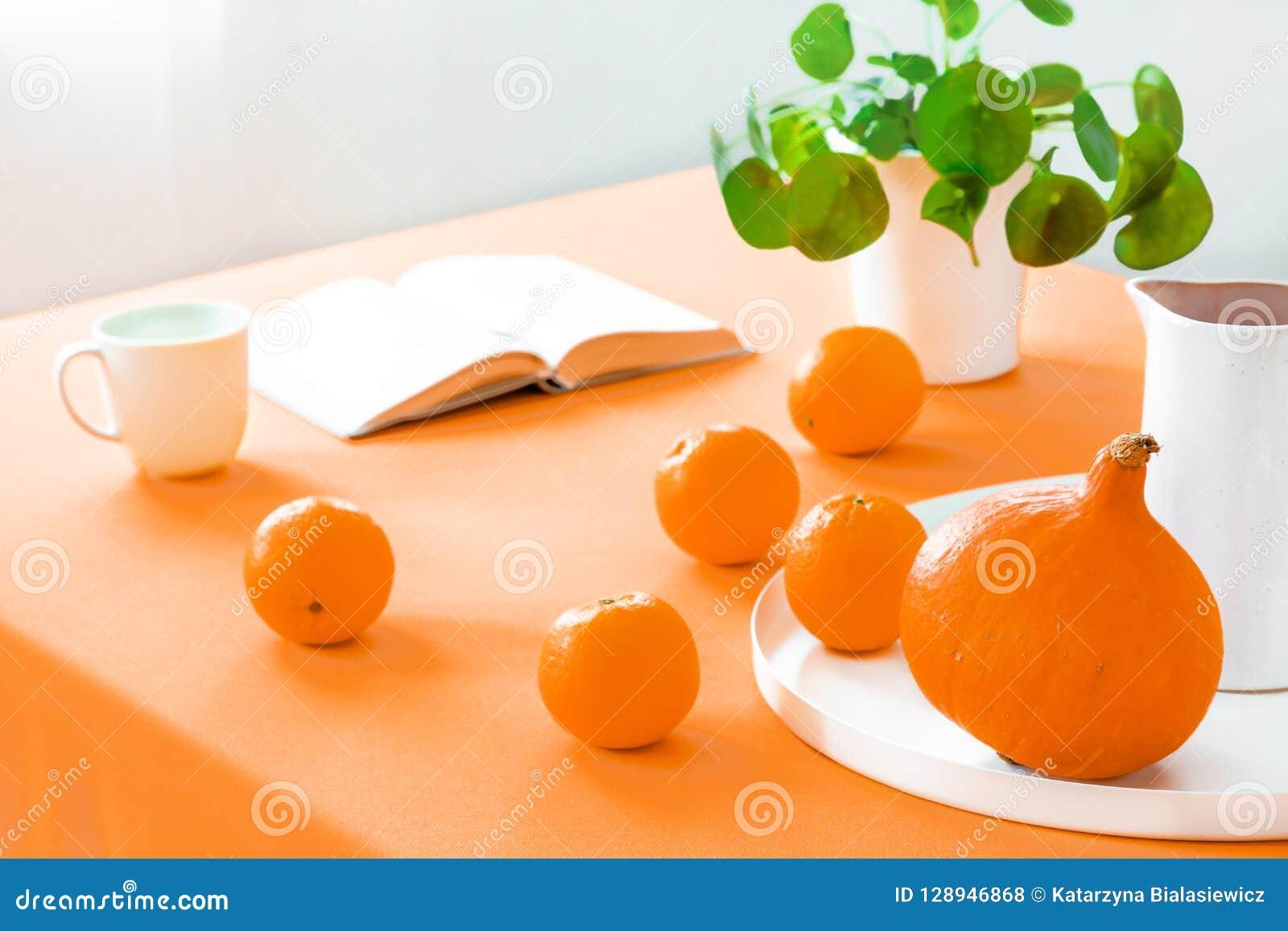 在桌上的特写镜头用桔子和南瓜在餐厅内部与植物和书