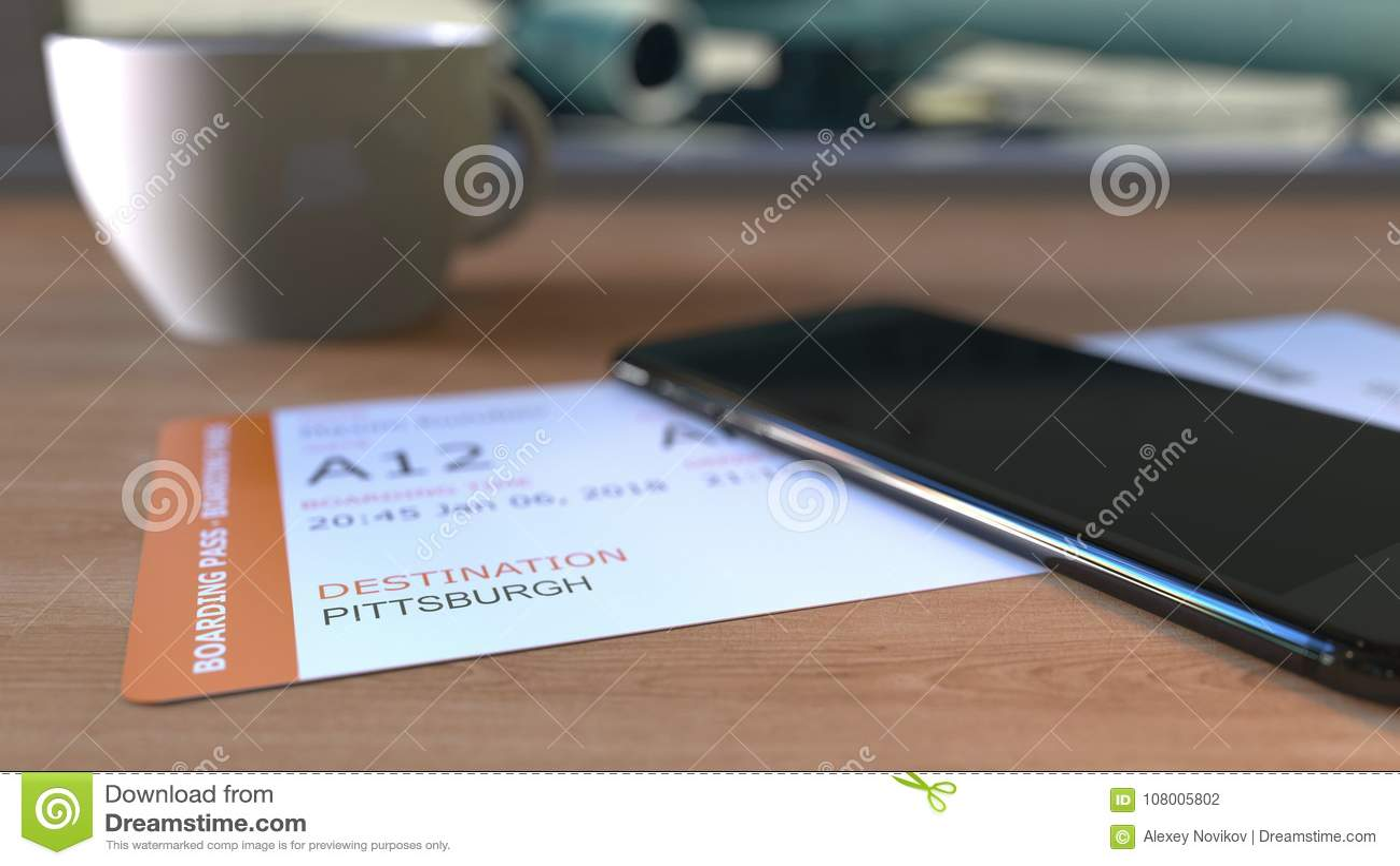 在桌上的登舱牌向匹兹堡和智能手机在机场,当旅行到美国时 3d翻译