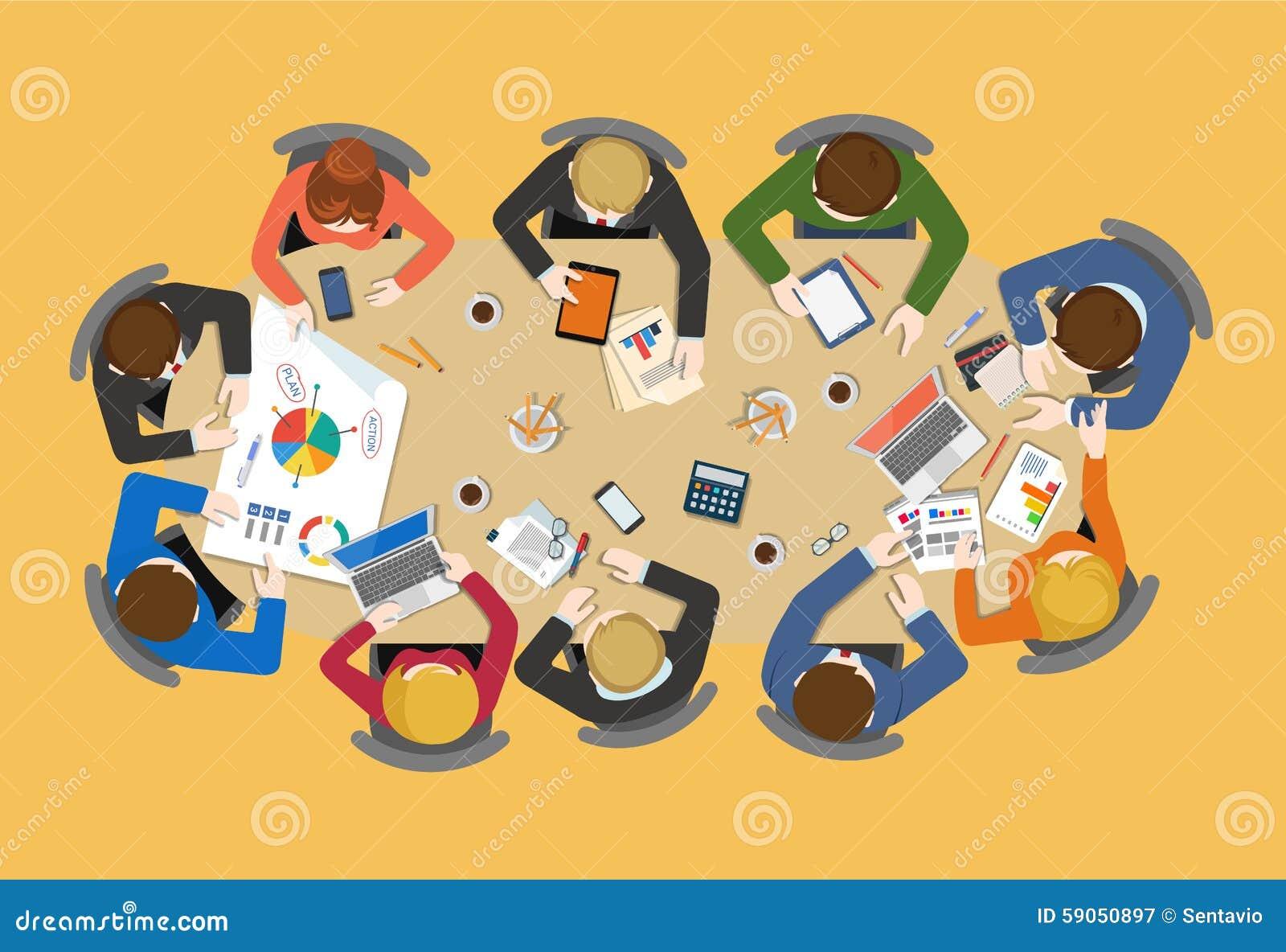 在桌附近的办公室工作人员队:传染媒介平的突发的灵感报告