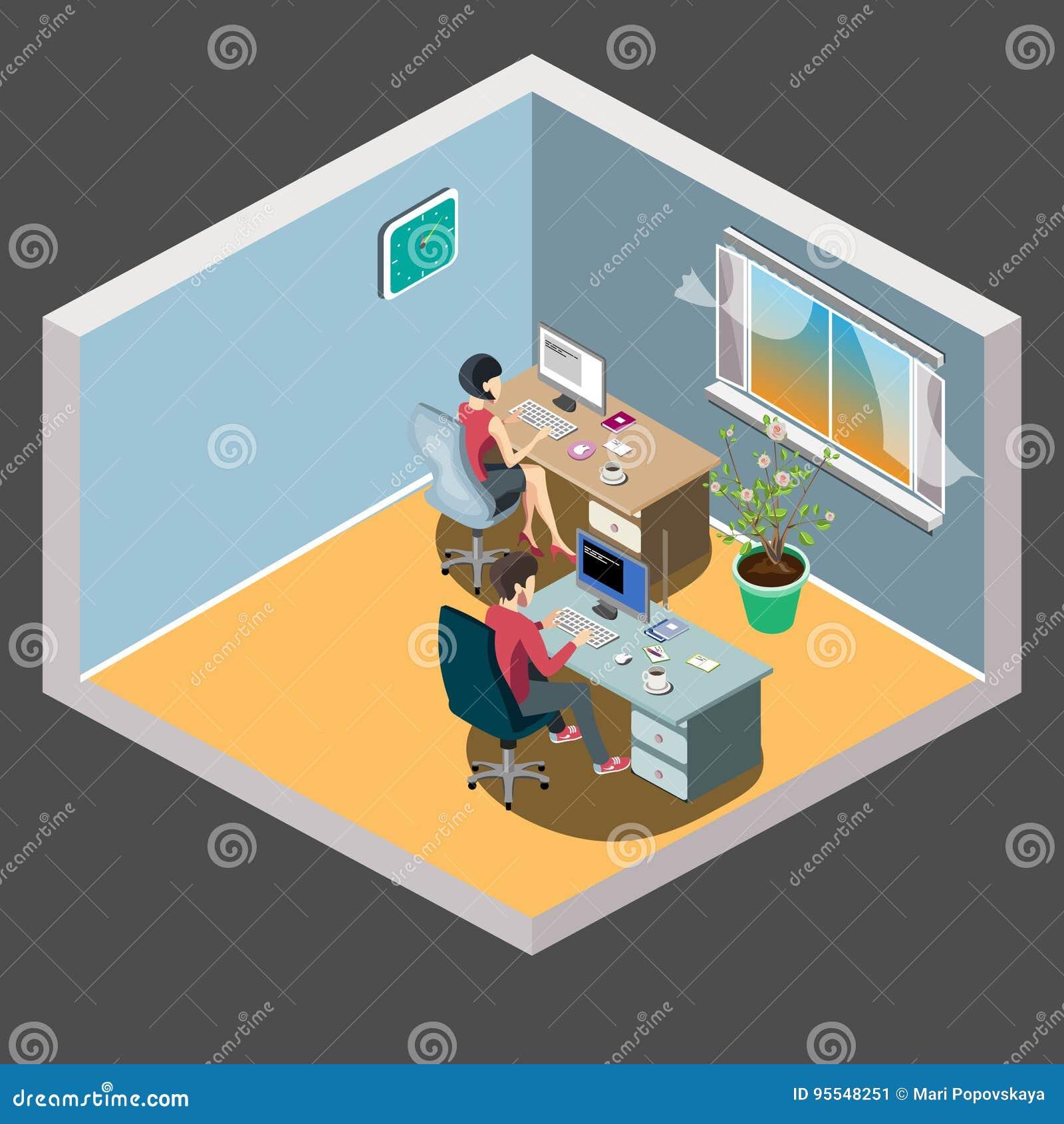 在桌附近的职员与膝上型计算机片剂 办公室会议室